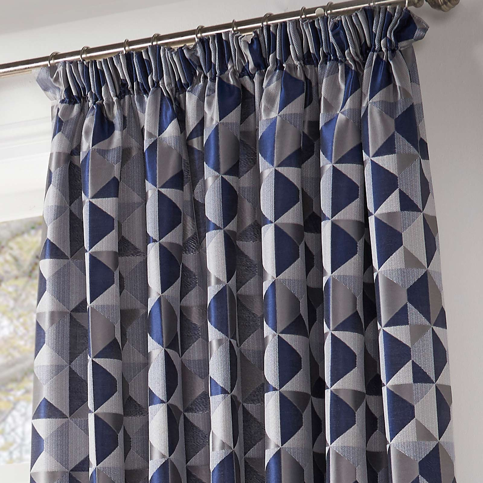 Skandi Geometric Jacquard Lined Tape Top Curtains Navy -  - Ideal Textiles