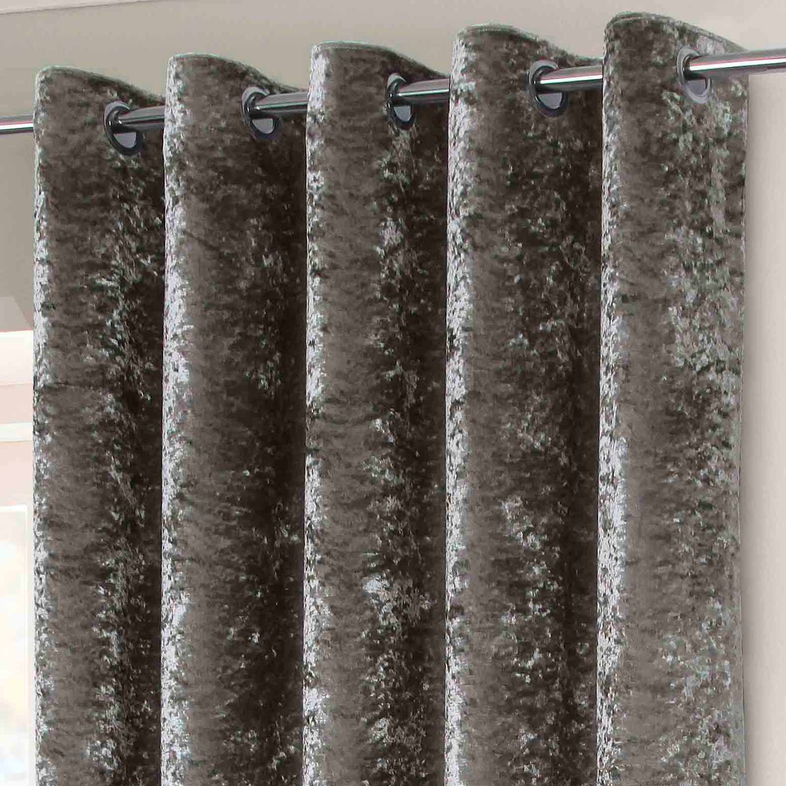 Crushed Velvet Lined Eyelet Curtains Silver -  - Ideal Textiles
