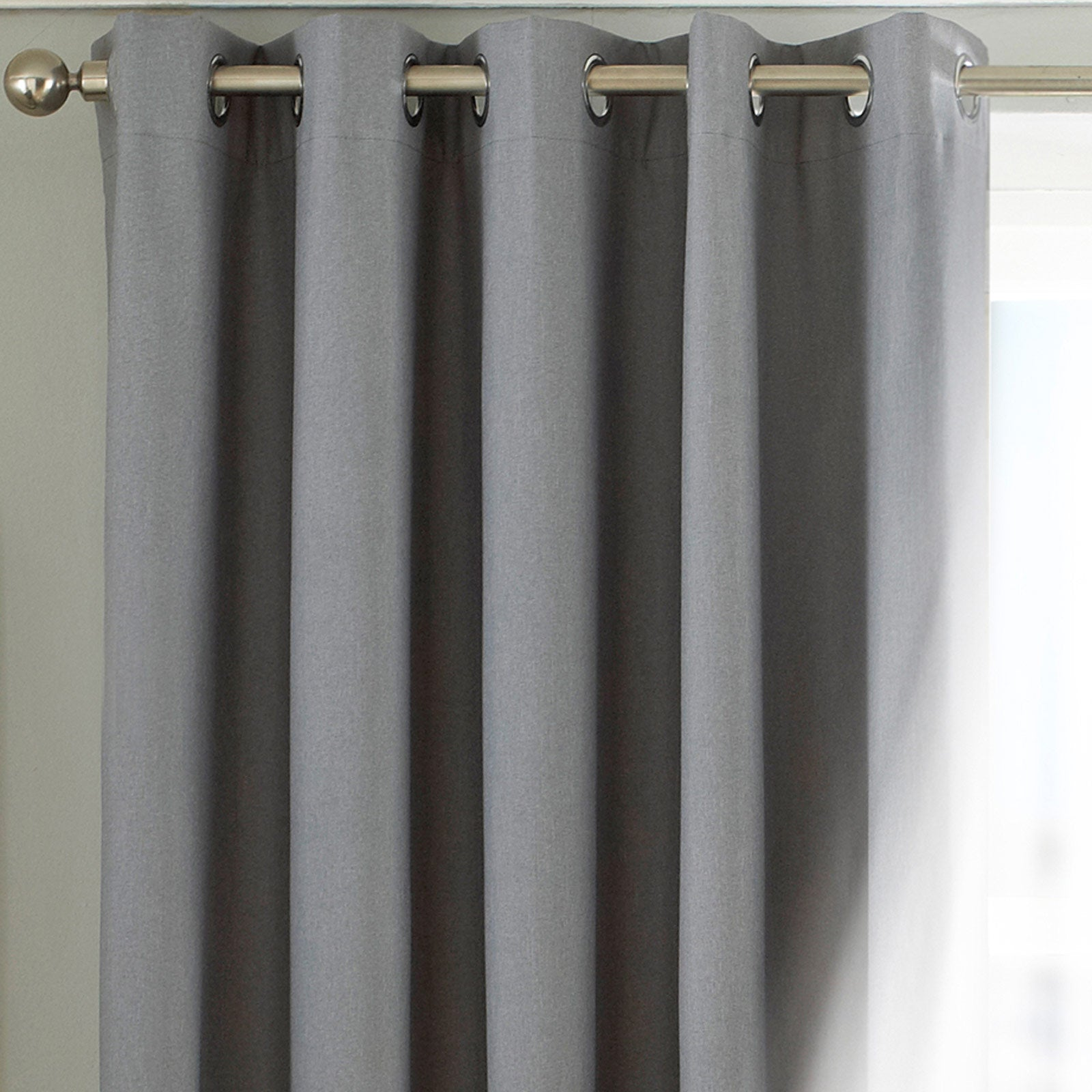 Twilight Thermal Blackout Eyelet Curtains Silver -  - Ideal Textiles