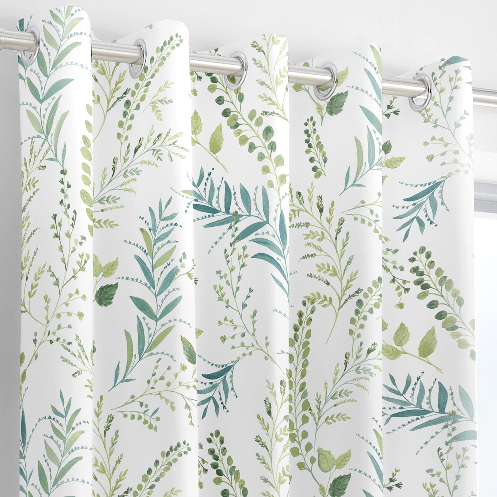 Fernworthy Leaf Print Lined Eyelet Curtains Green -  - Ideal Textiles