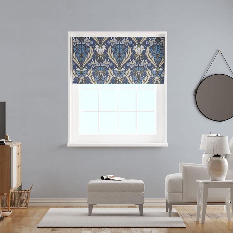 Acanthus Navy Made To Measure Roman Blind -  - Ideal Textiles