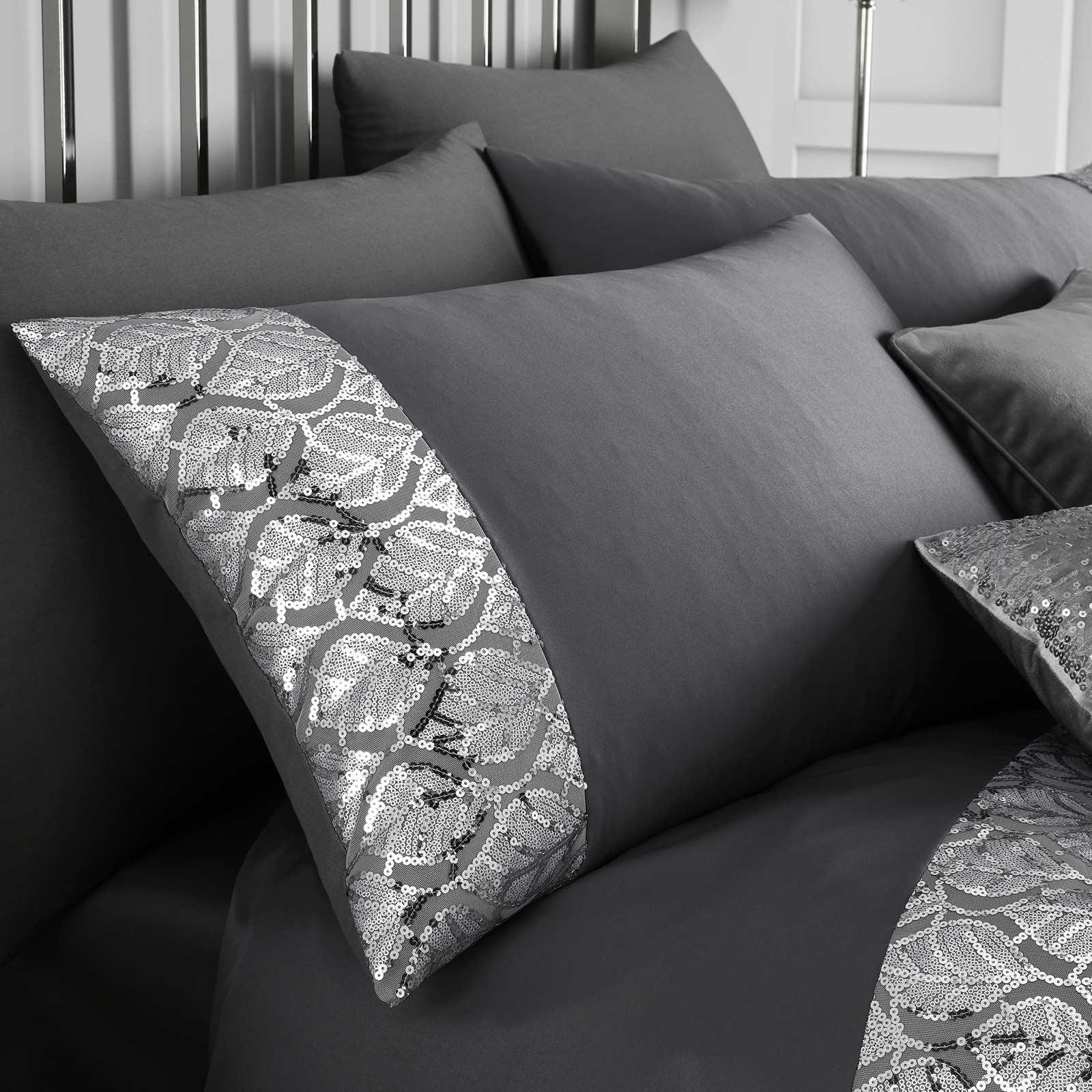 Hayworth Sequin Sparkle Slate Duvet Cover Set Collection -  - Ideal Textiles