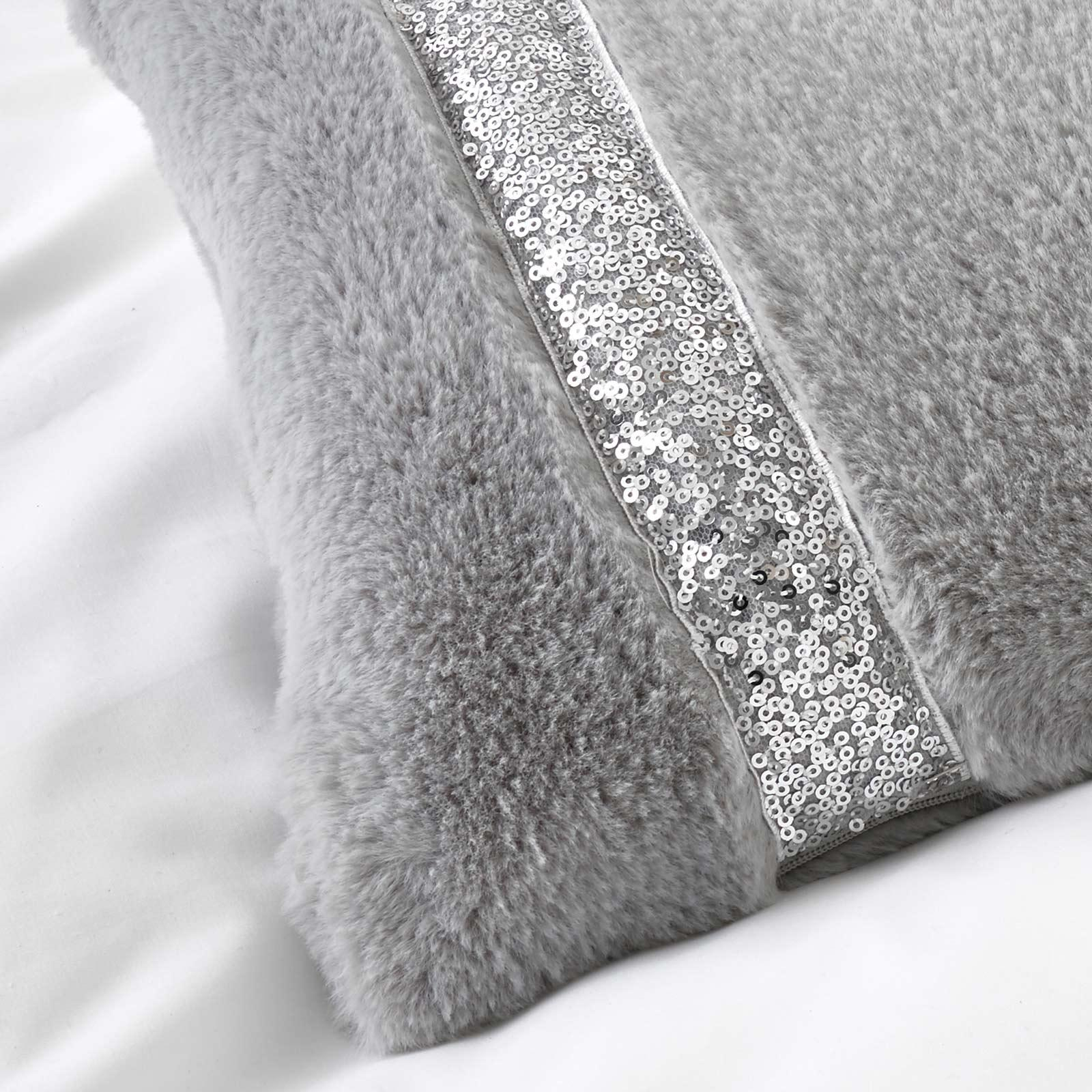 Ingrid Faux Fur Sequin Trim Filled Boudoir Cushion Silver -  - Ideal Textiles