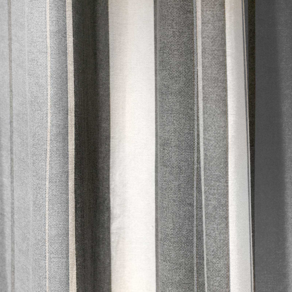 Whitworth Stripe Lined Eyelet Curtains Grey - Ideal Textiles