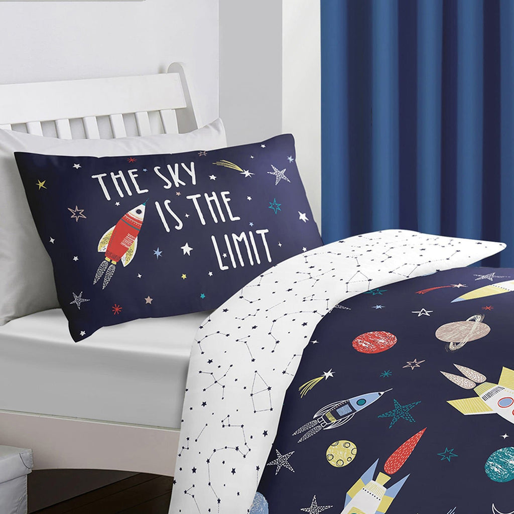 Space Glow in the Dark Blue Kids Duvet Cover Set - Ideal Textiles