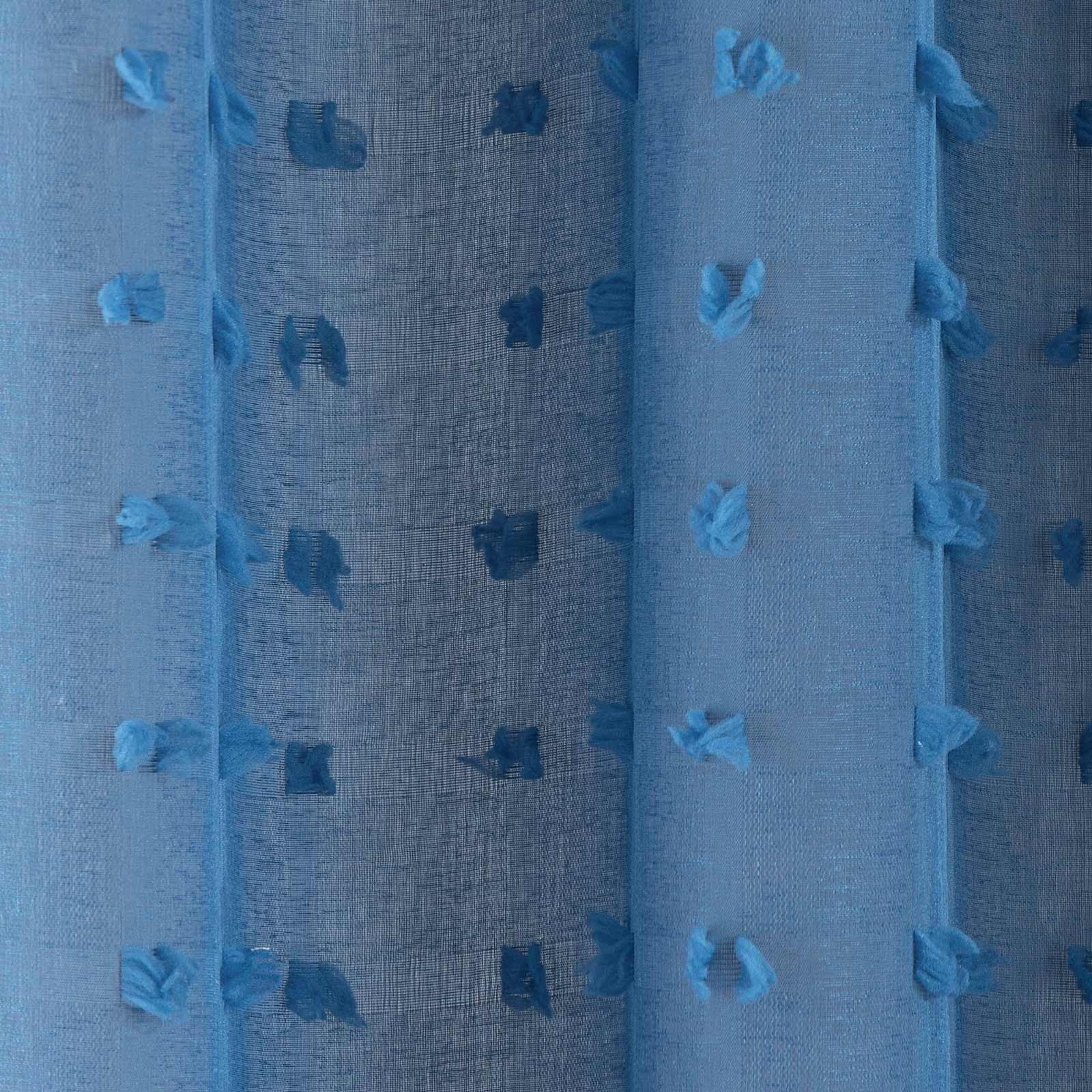 Bali Eyelet Voile Curtain Panels Blue -  - Ideal Textiles