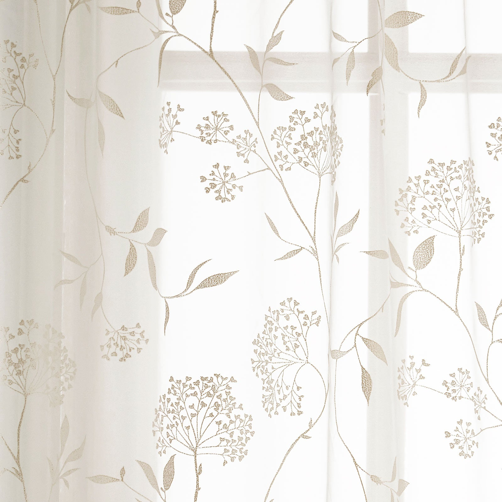 Amalfi Floral Voile Curtain Panels Champagne -  - Ideal Textiles