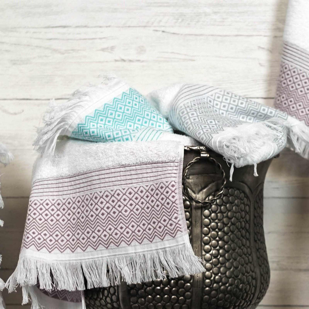 Diamond Tassel Trim 100% Cotton Towels & Bath Mat Peppermint - Ideal Textiles