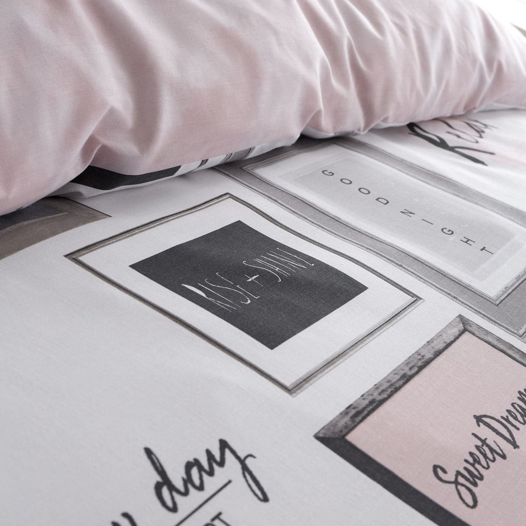 Sleep Dreams Slogan Print Blush Pink Duvet Cover Set - Ideal Textiles