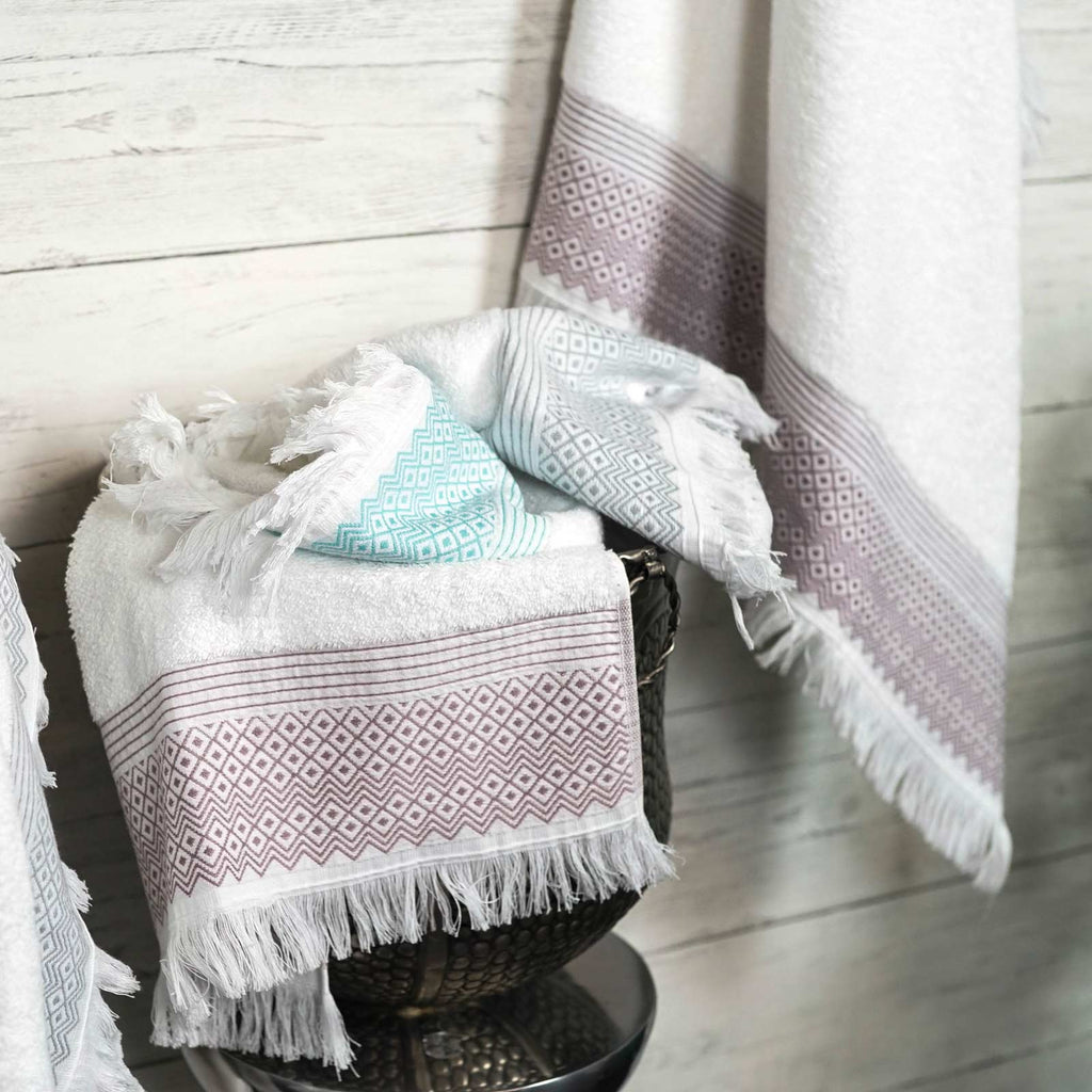 Diamond Tassel Trim 100% Cotton Towels & Bath Mat Mauve - Ideal Textiles