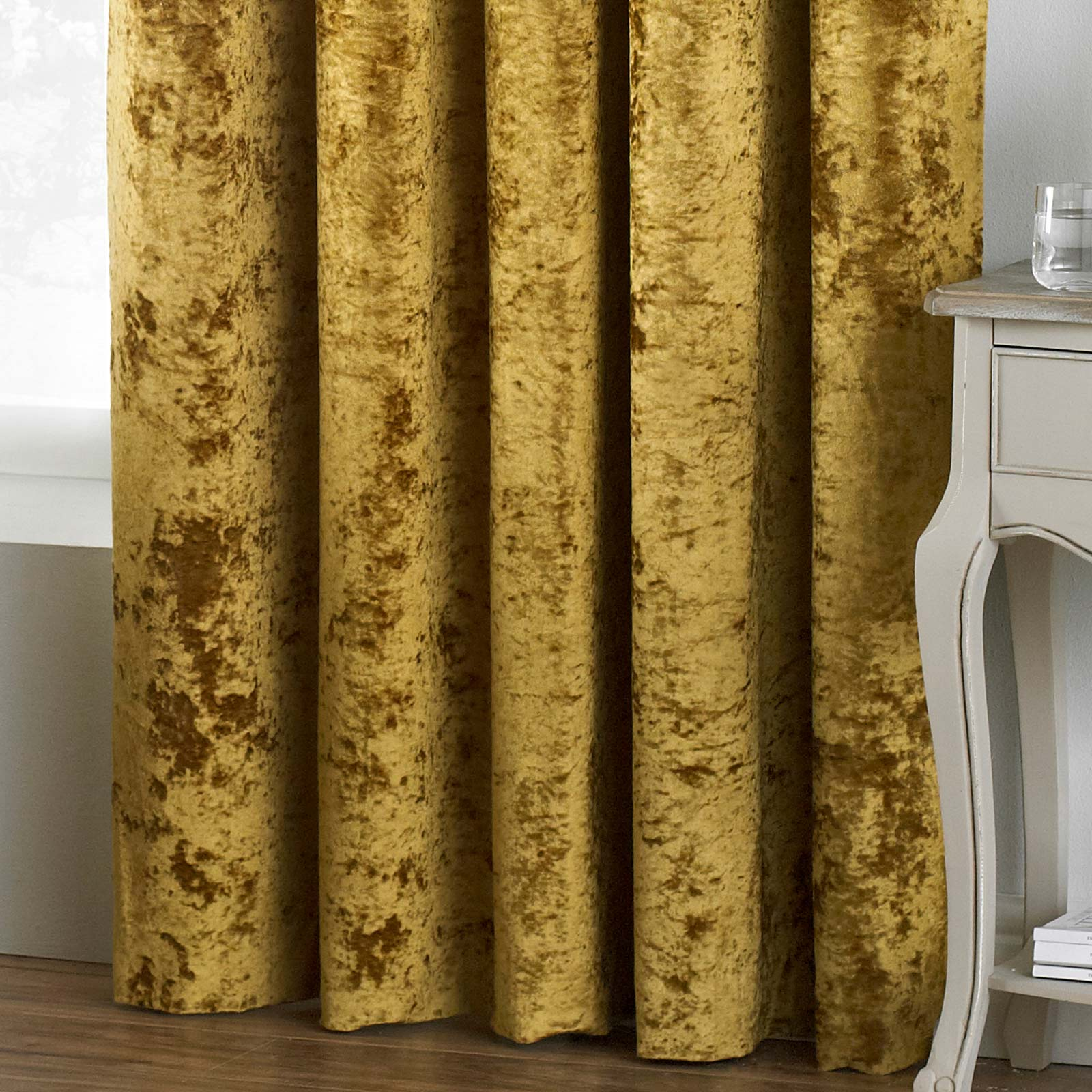 Verona Crushed Velvet Lined Eyelet Curtains Ochre -  - Ideal Textiles