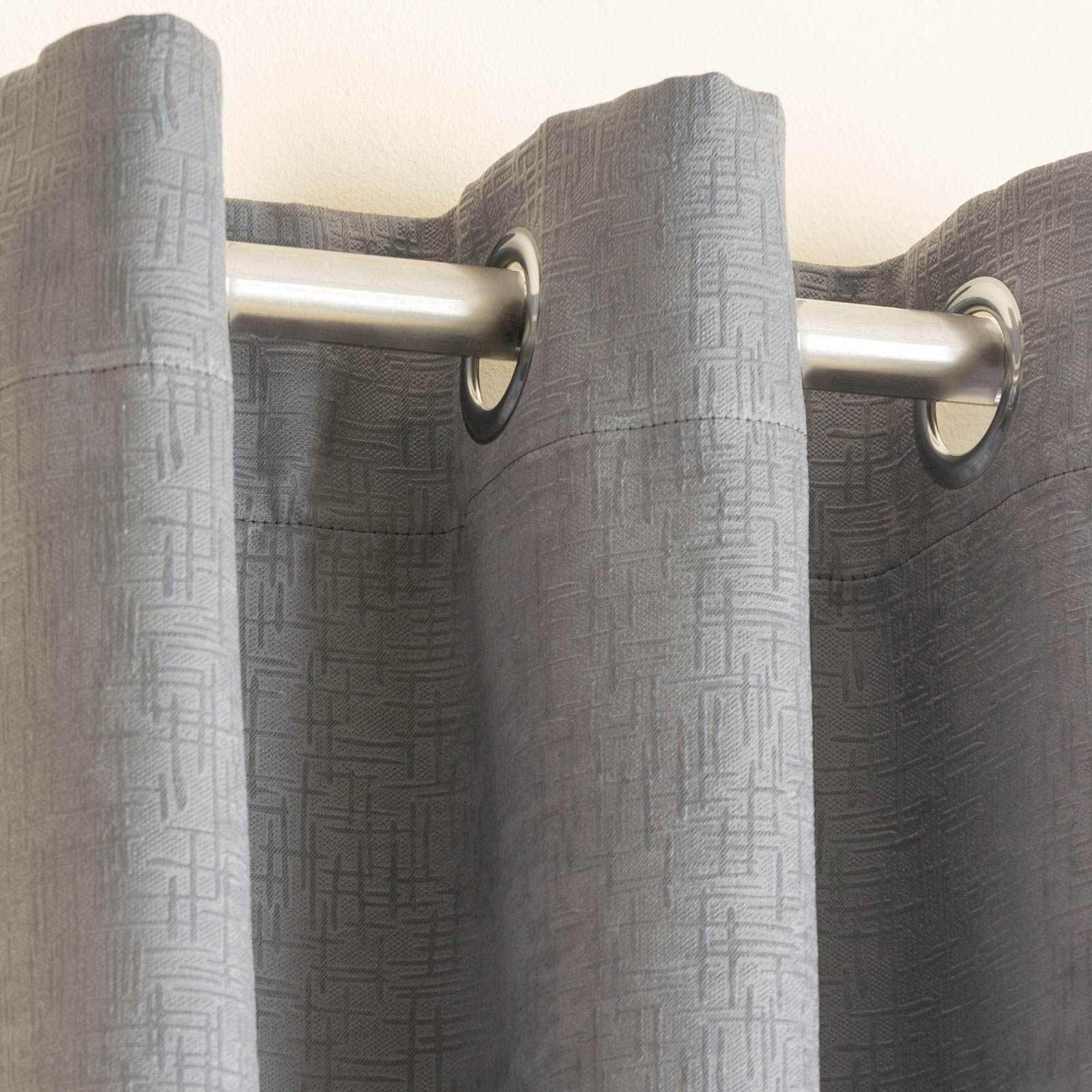 Vogue Textured Block-Out Thermal Eyelet Curtains Grey -  - Ideal Textiles
