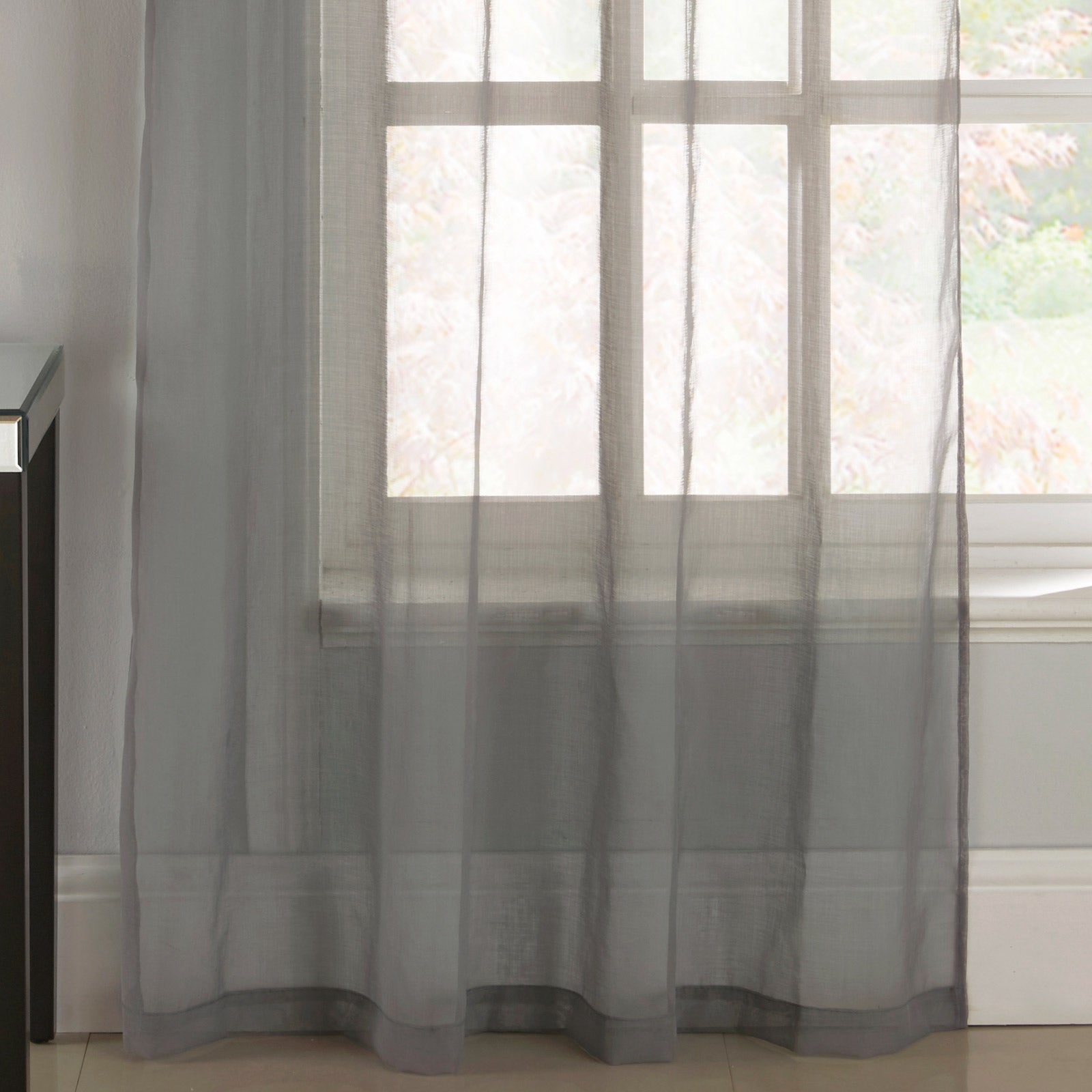 Tiffany Diamante Eyelet Voile Curtain Panels Grey -  - Ideal Textiles