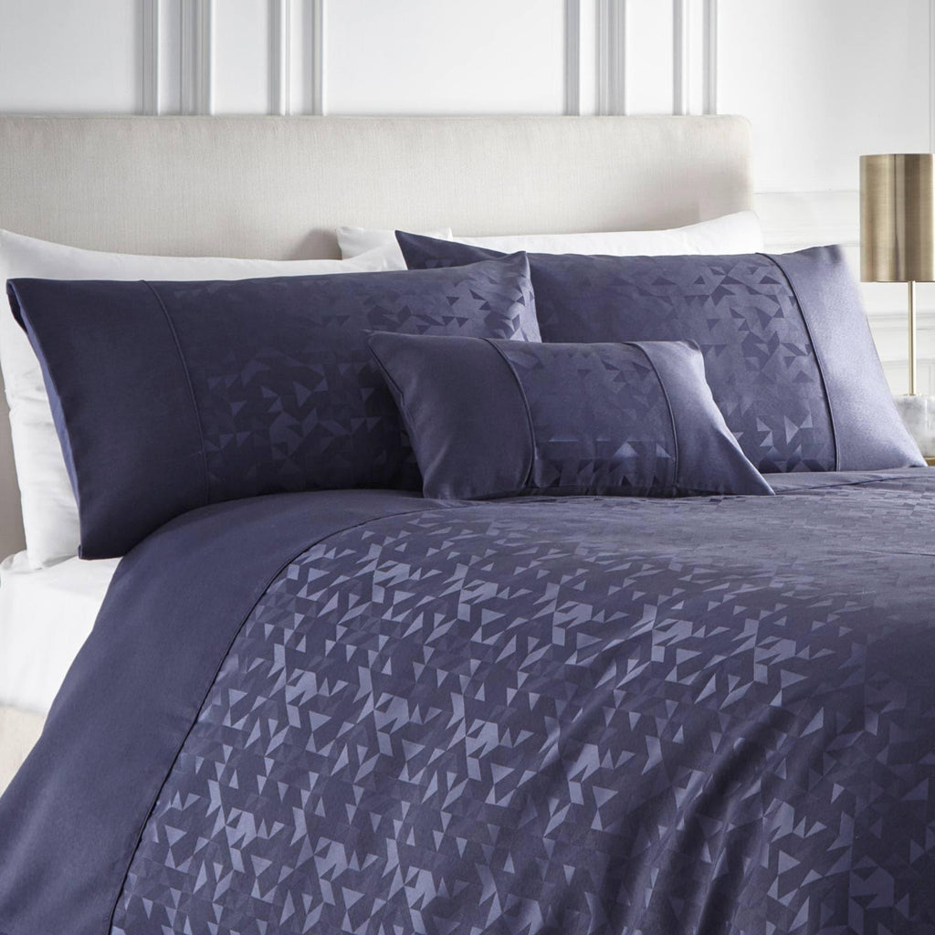 Lucien Jacquard Duvet Covers Collection Navy - Ideal Textiles