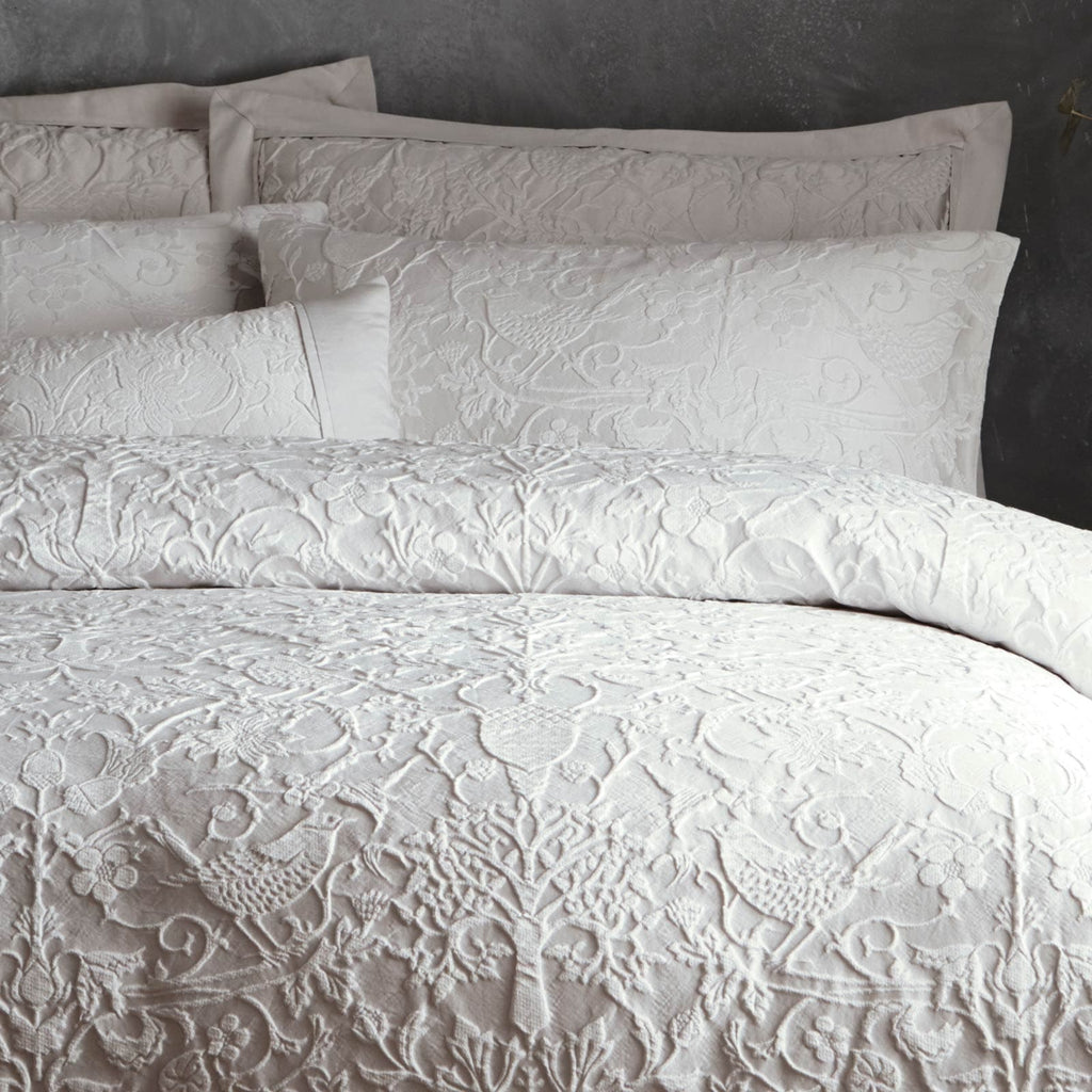 Oak Tree Luxury Jacquard Silver Grey Duvet Cover Set - Ideal Textiles