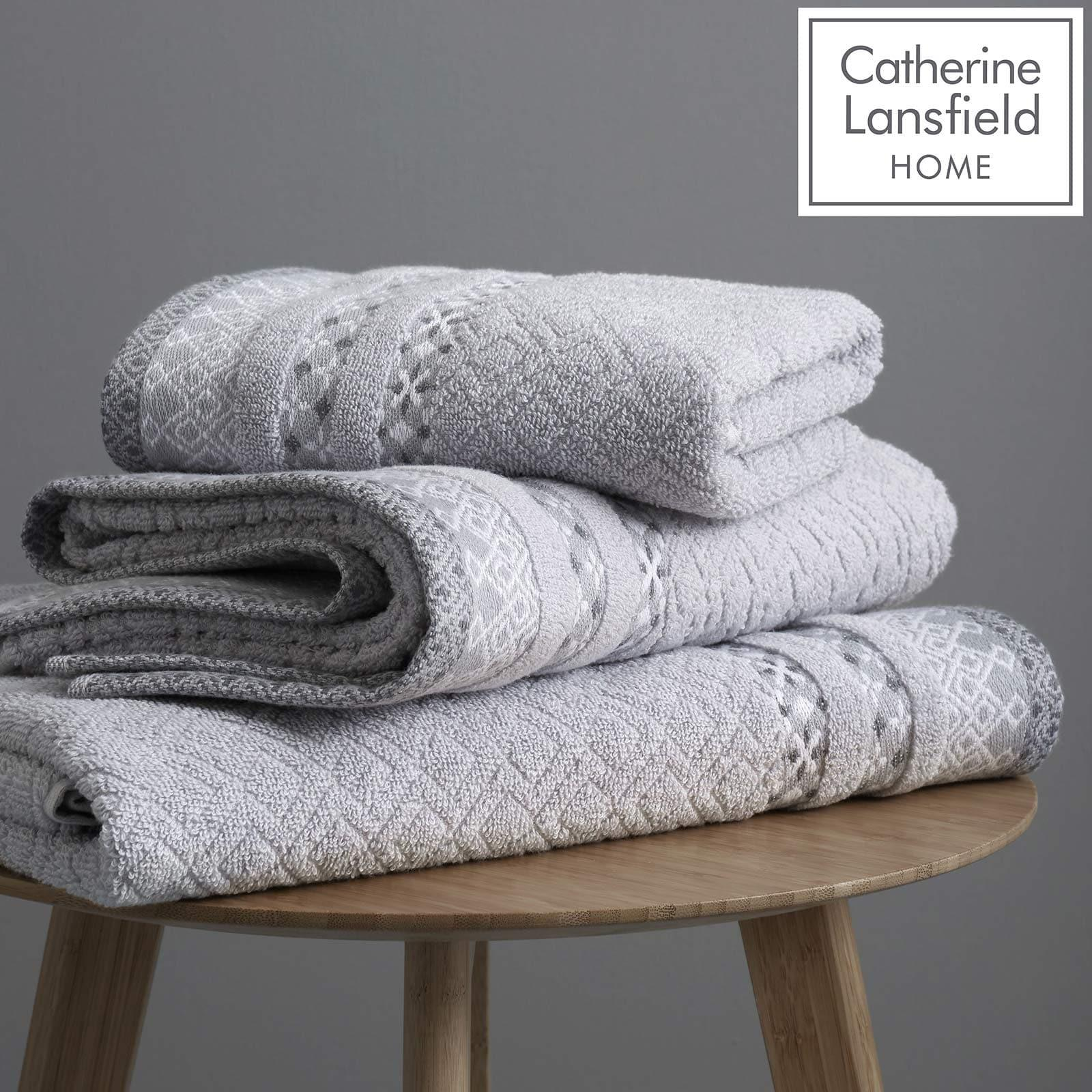 Malawa Geo Grey 2 Piece Towel Sets -  - Ideal Textiles