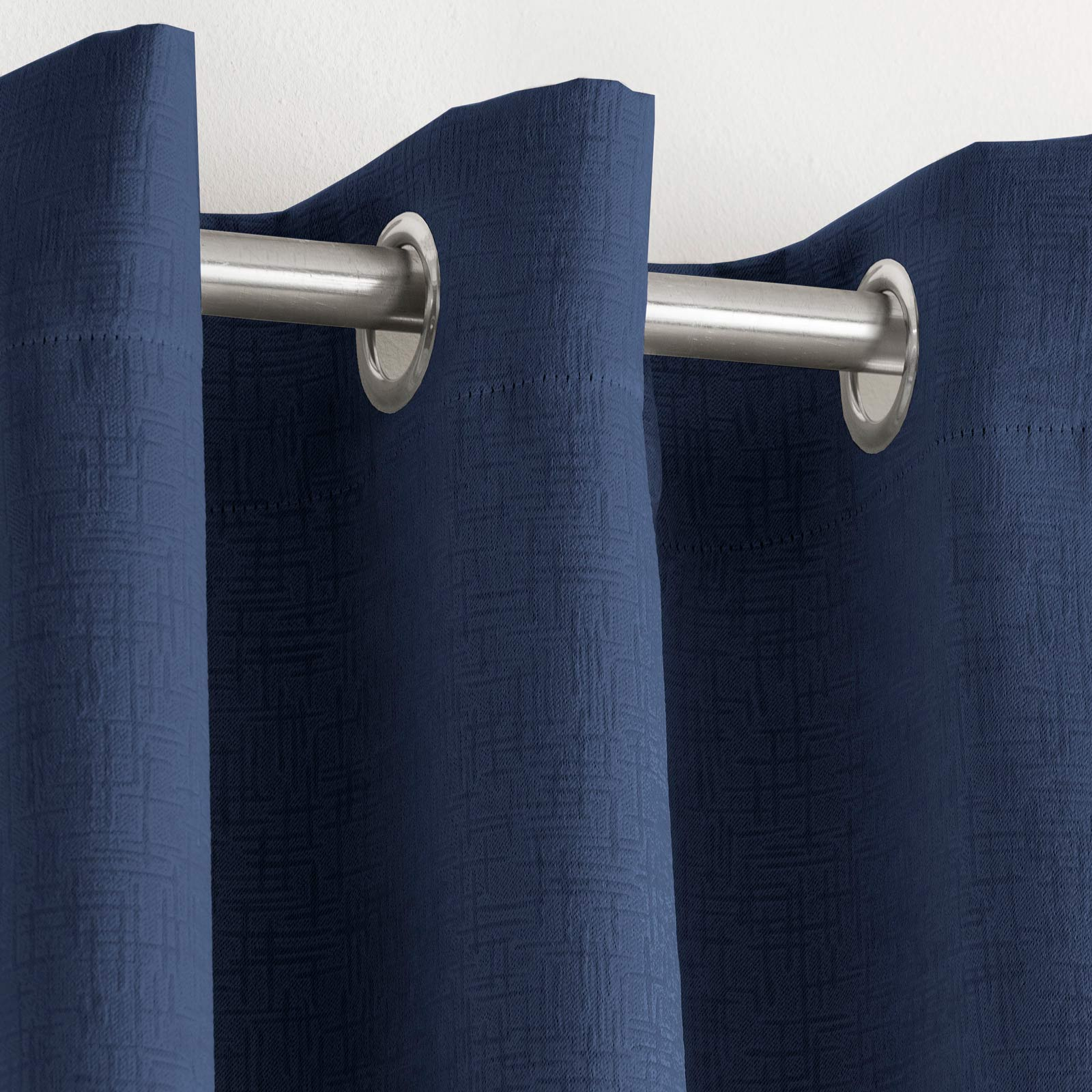 Vogue Textured Block-Out Thermal Eyelet Curtains Navy -  - Ideal Textiles