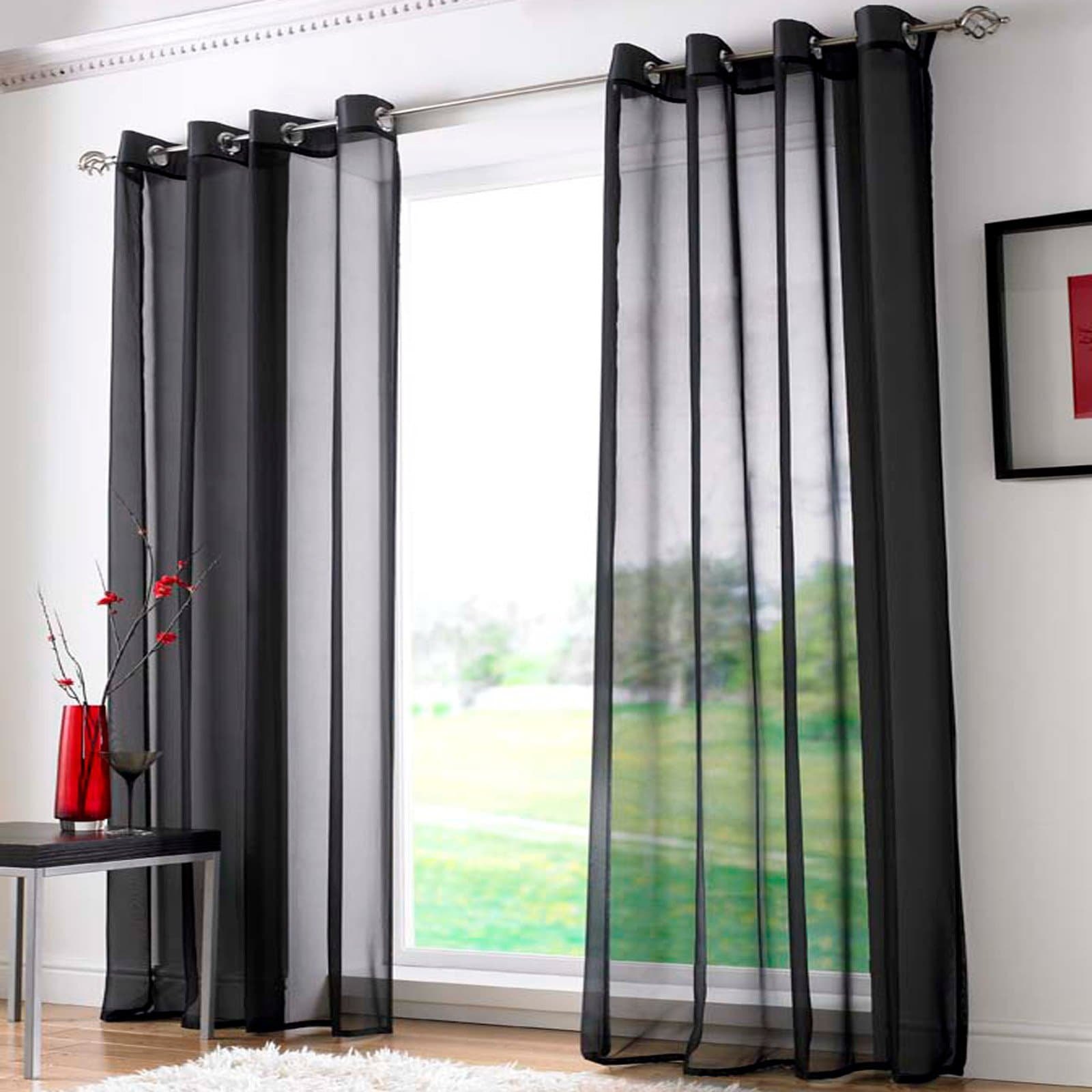 Plain Eyelet Voile Curtain Panels Black -  - Ideal Textiles