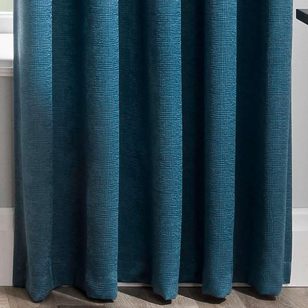 Matrix Block Out Thermal Tape Top Curtains Teal - Ideal Textiles