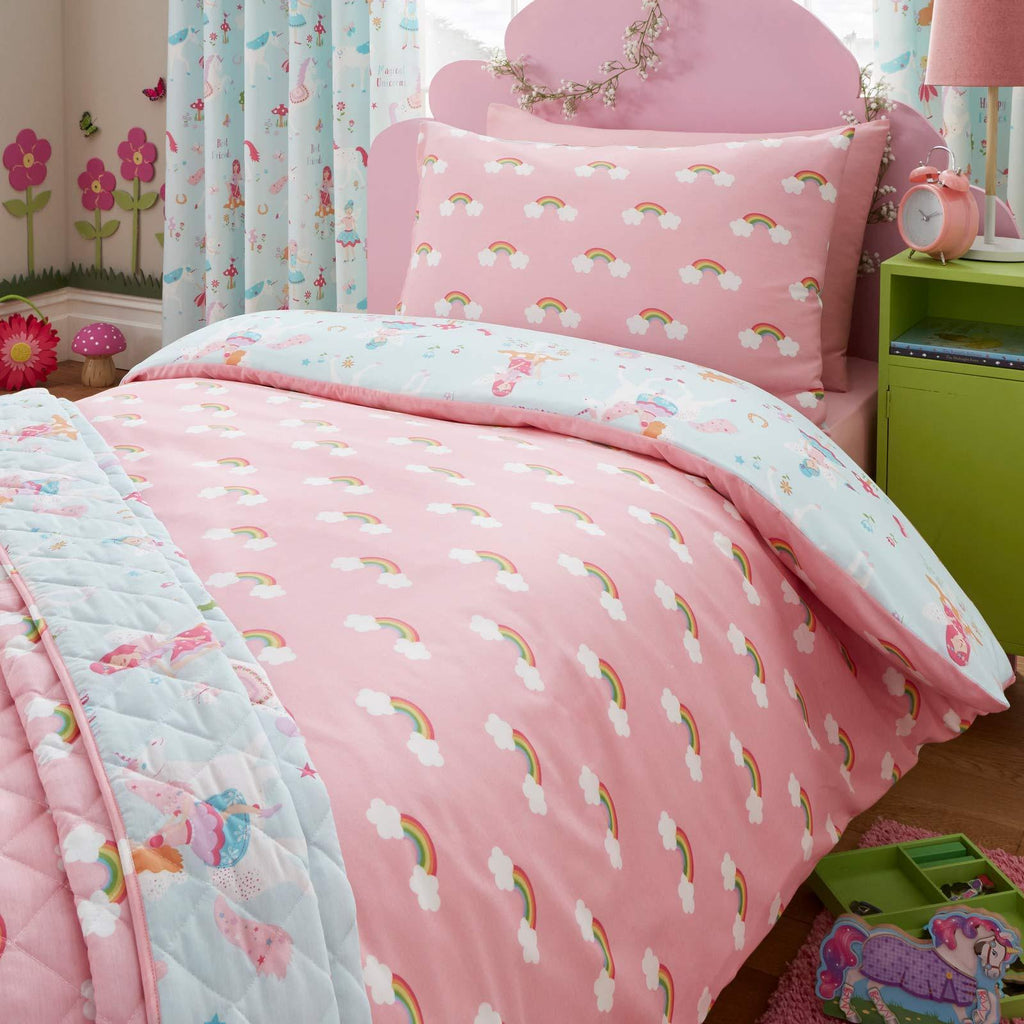 Magical Unicorns Rainbow Blue & Pink Kids Duvet Cover Set - Ideal Textiles