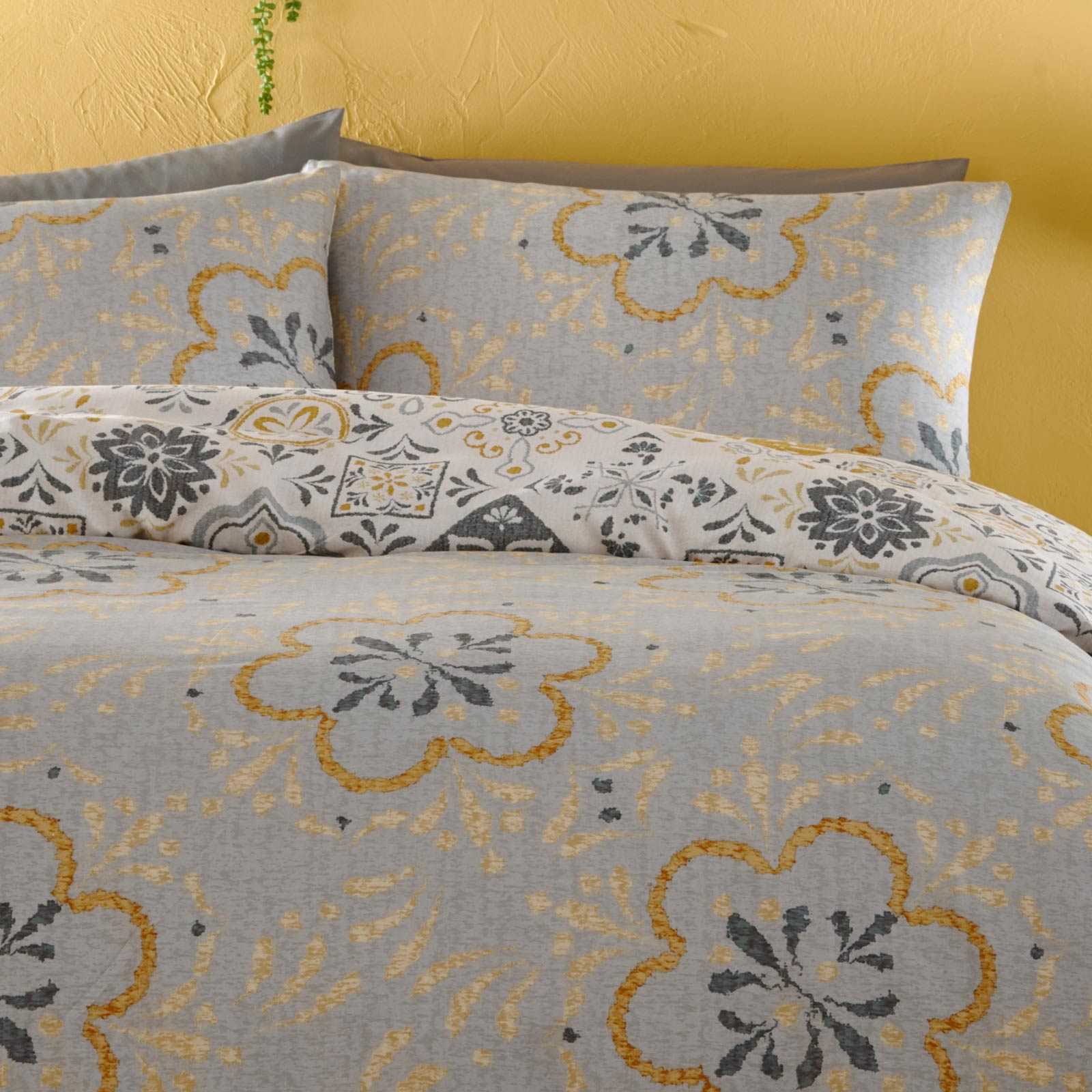 Morocco Tile Print Reversible Ochre Duvet Cover Set -  - Ideal Textiles