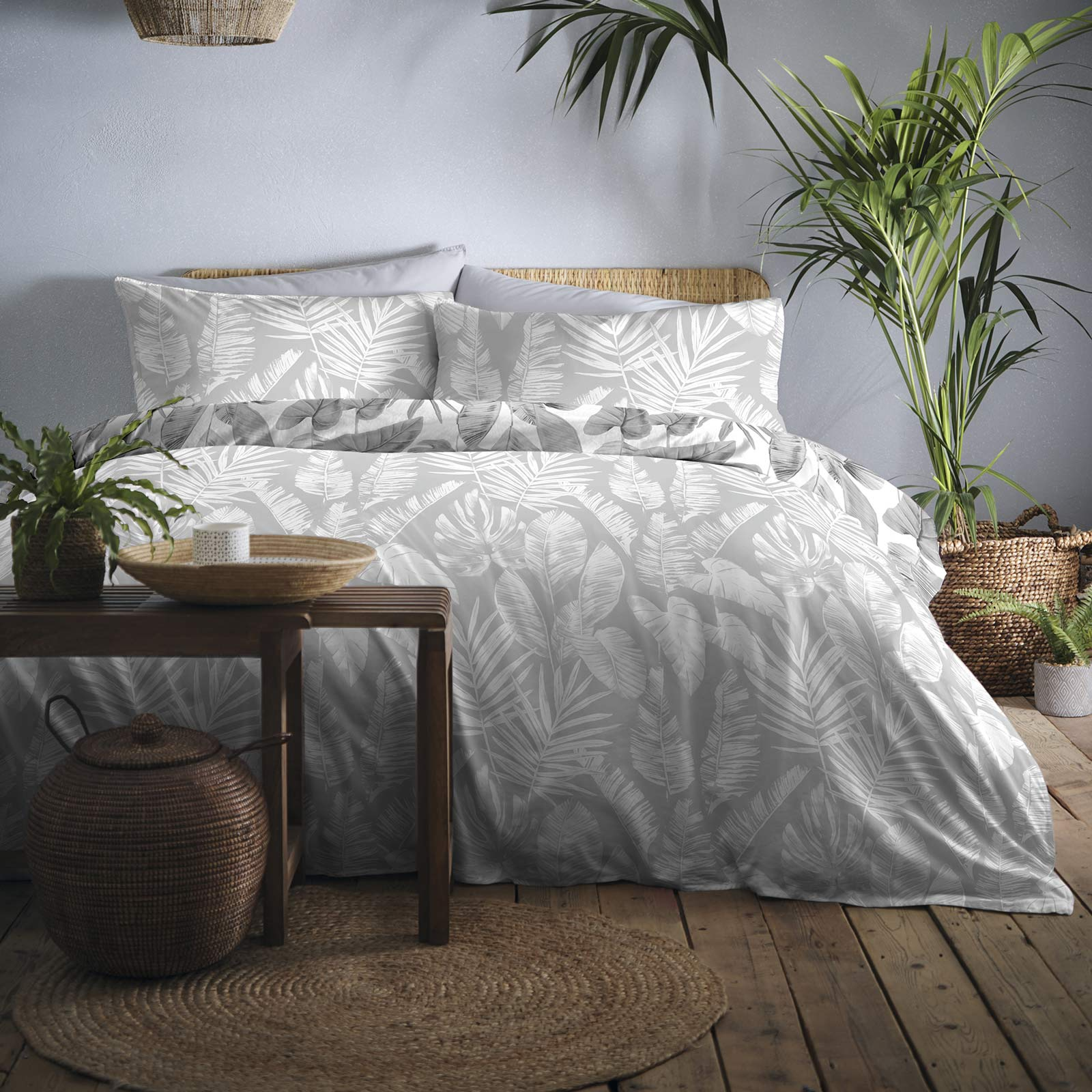 Tahiti Tropical Palm Leaf Print Grey Duvet Cover Set -  - Ideal Textiles