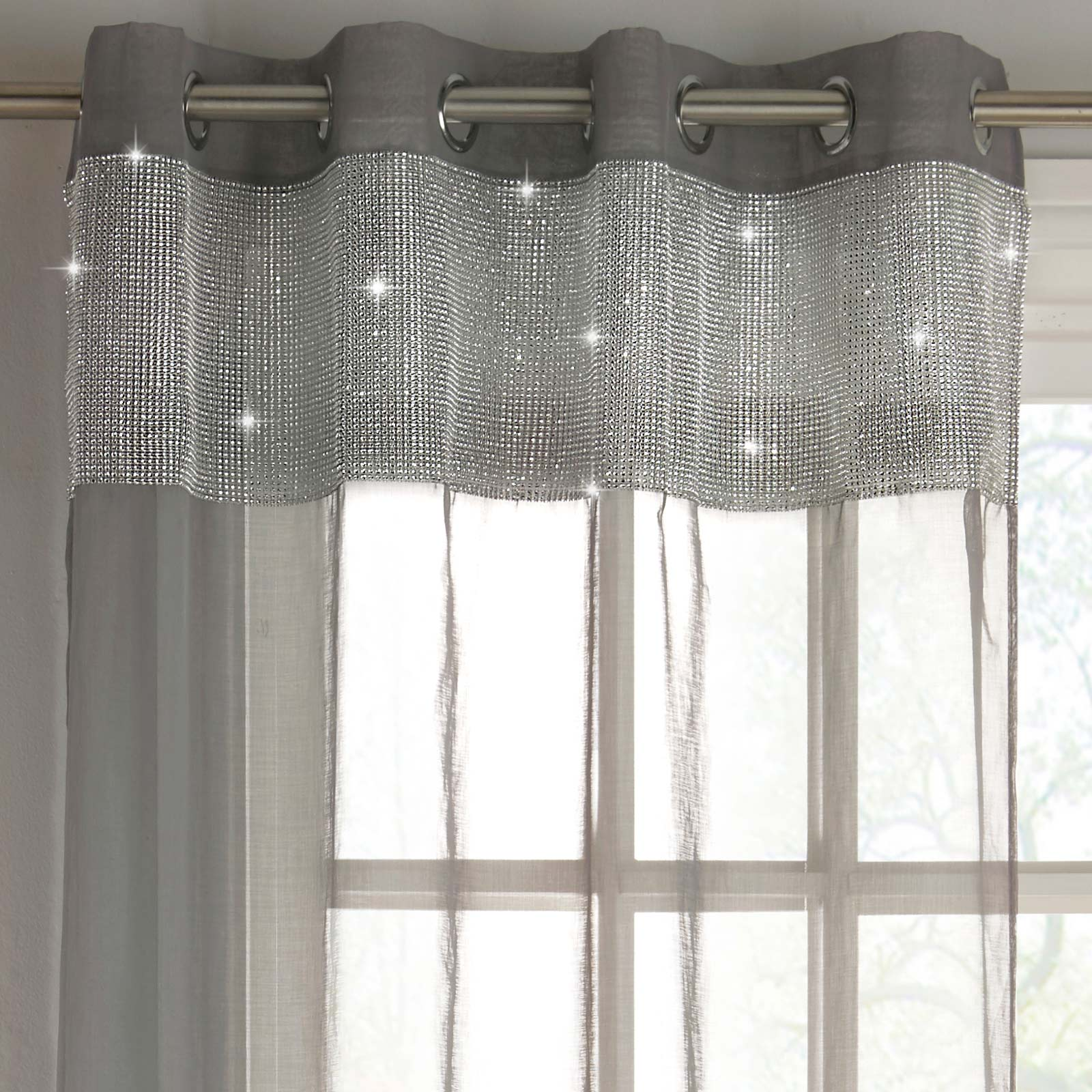Tiffany Diamante Eyelet Voile Curtain Panels Grey - 55'' x 54'' - Ideal Textiles