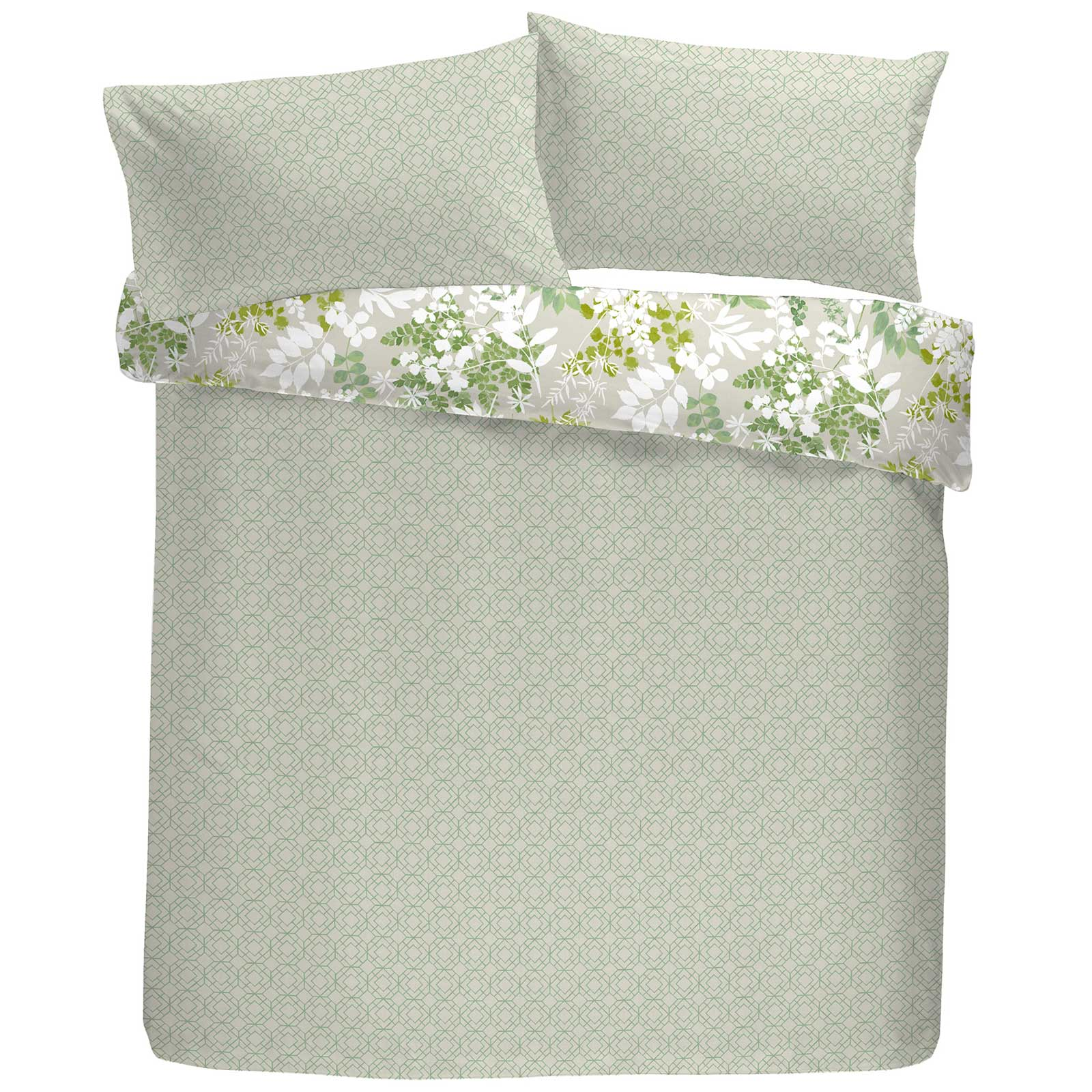 Delamere Botanical Leaf Reversible Green Duvet Cover Set -  - Ideal Textiles
