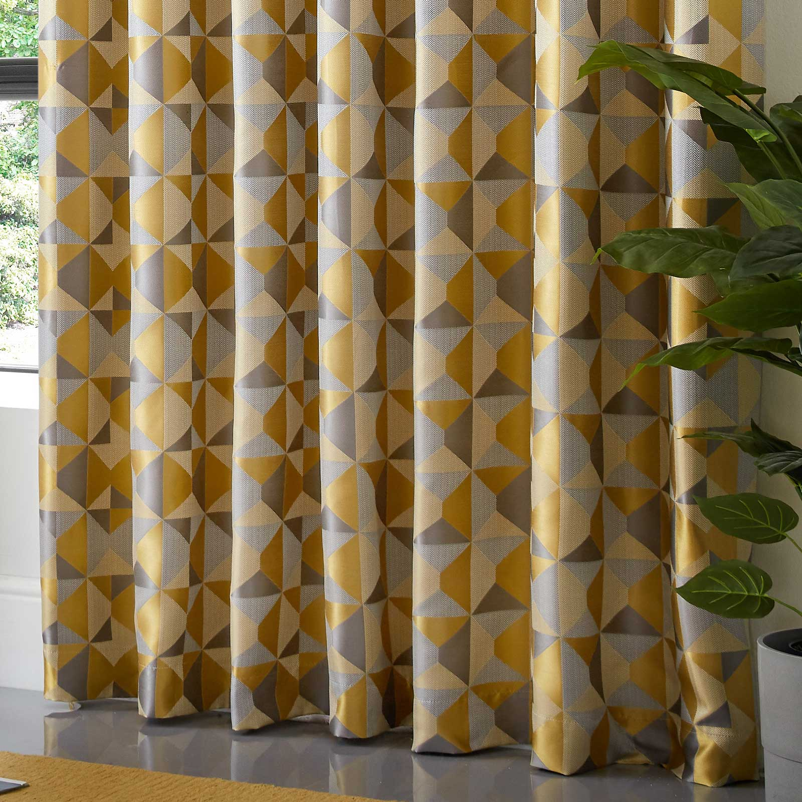 Skandi Geometric Jacquard Lined Eyelet Curtains Ochre -  - Ideal Textiles