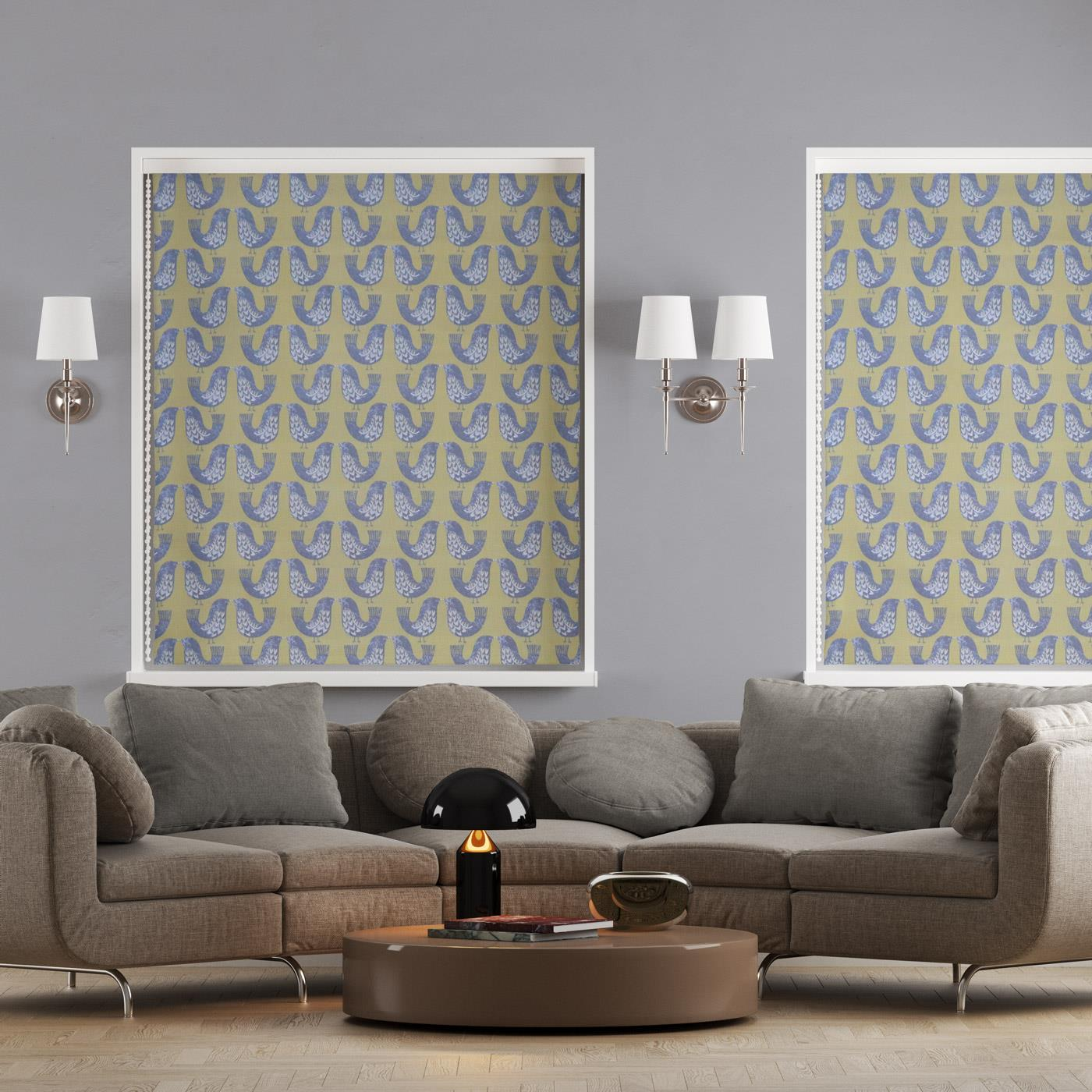 Scandi Birds Mustard Made To Measure Roman Blind -  - Ideal Textiles