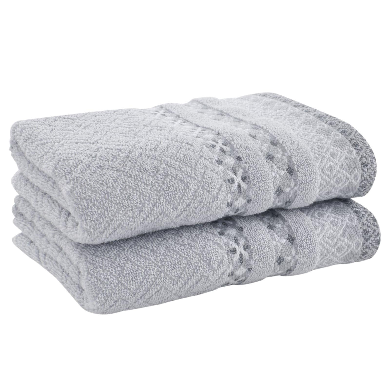 Malawa Geo Grey 2 Piece Towel Sets - Hand Towels - Ideal Textiles