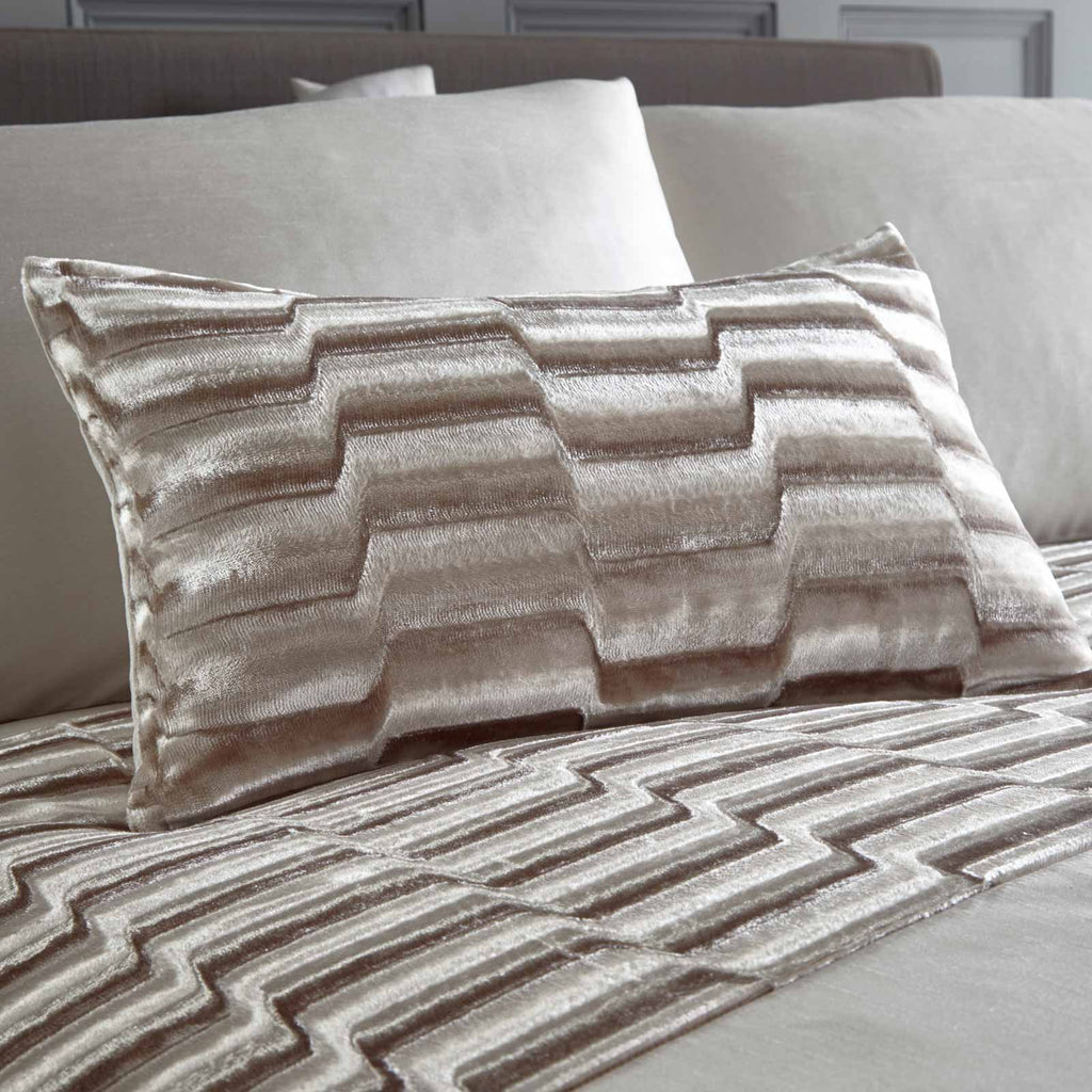 Murray Crushed Velvet Oyster Duvet Cover Set - Ideal Textiles