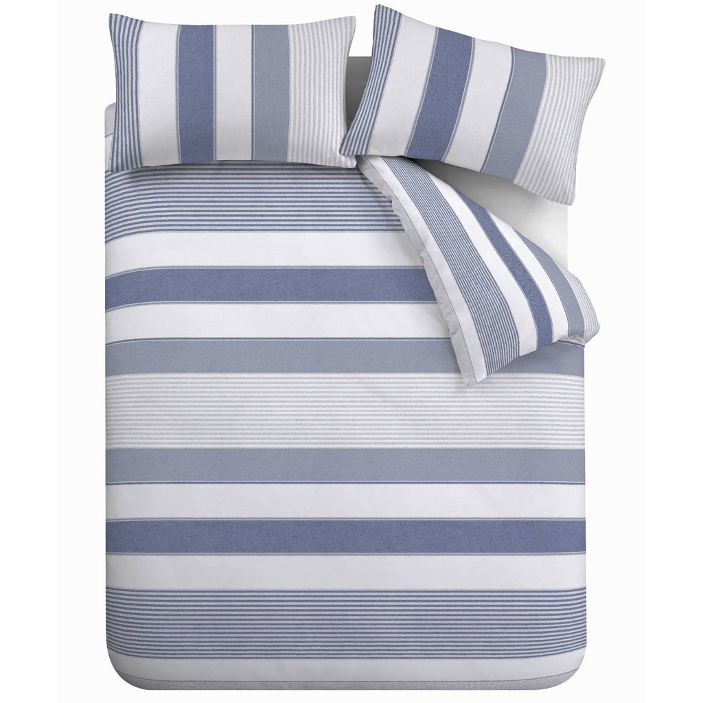 Newquay Stripe Print Blue Duvet Cover Set - Ideal Textiles