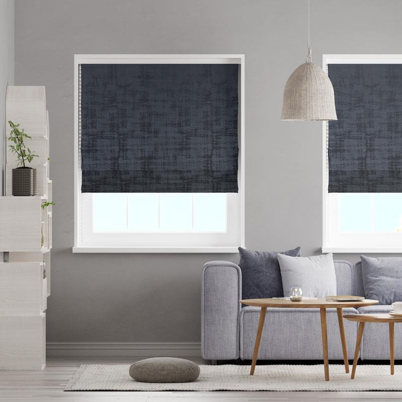Azurite Black Made To Measure Roman Blind -  - Ideal Textiles