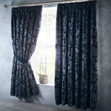 Oak Tree Luxury Jacquard Navy Blue Duvet Cover Set - Ideal Textiles