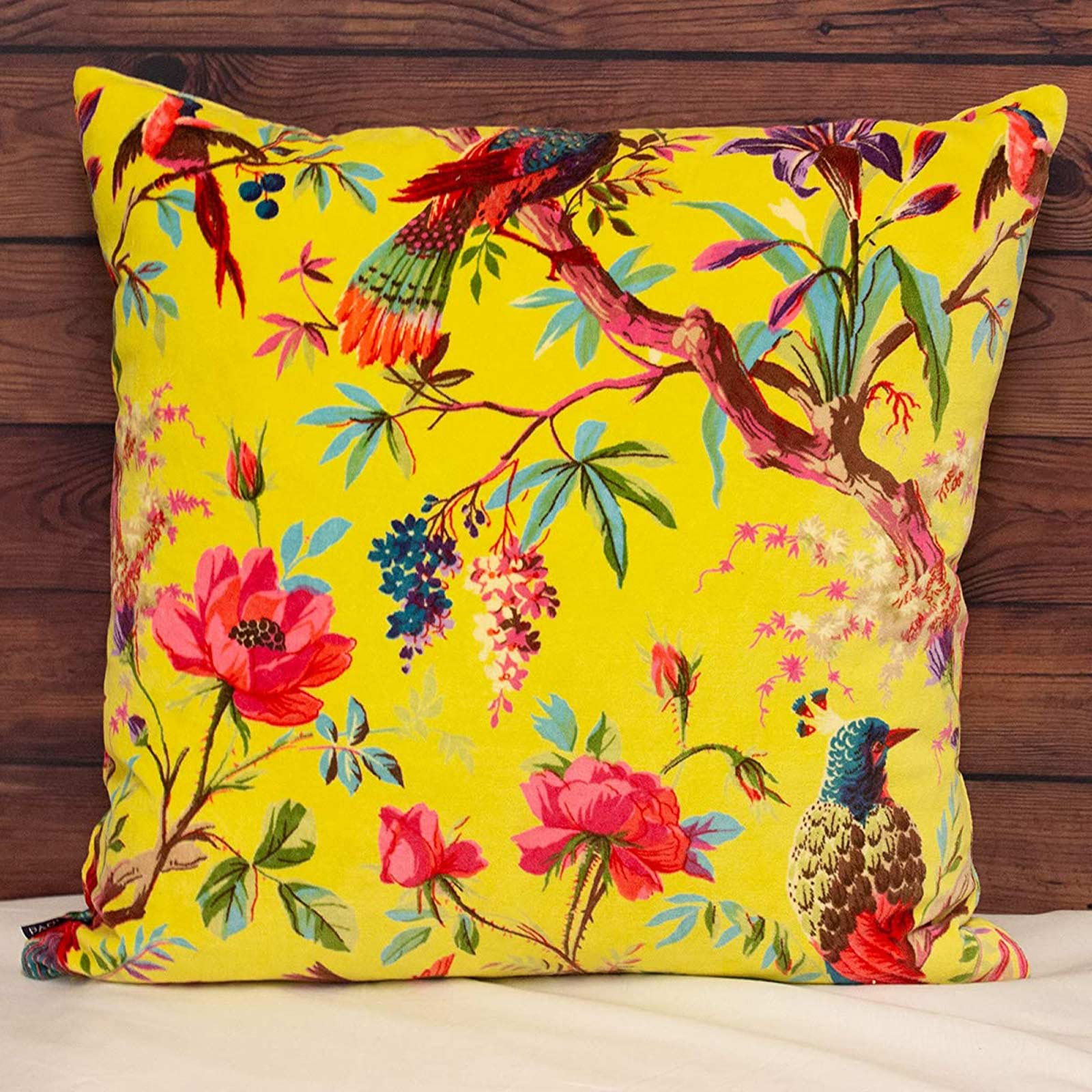 Paradise Tropical Chinoiserie Velvet Acacia Cushion Covers 20'' x 20'' -  - Ideal Textiles