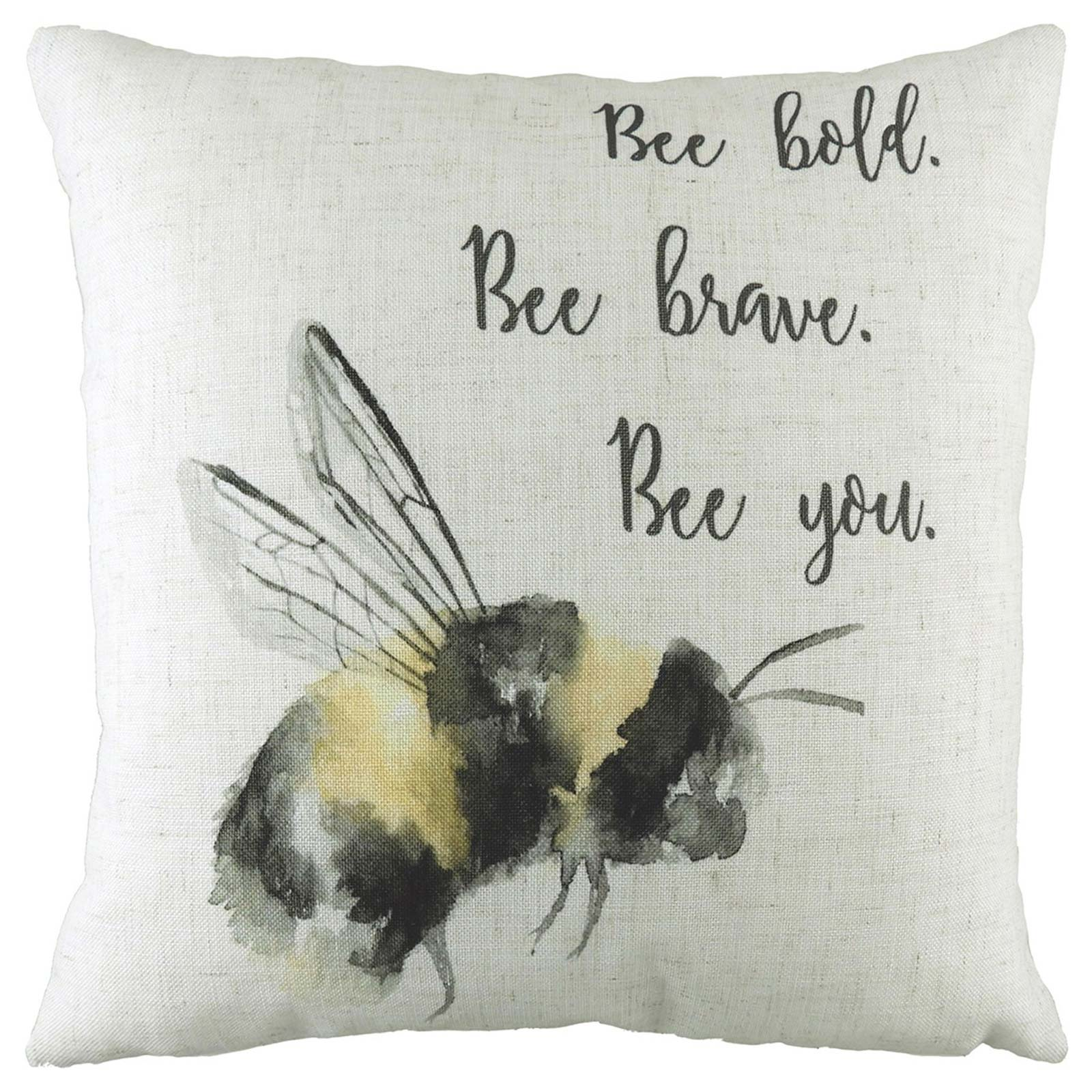 Bee You Watercolour Bumblebee Print Cushion Covers 17'' x 17'' -  - Ideal Textiles