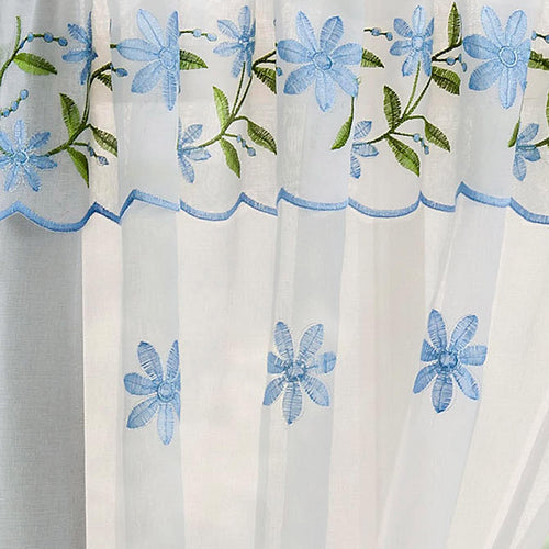 Copenhagen Lined Eyelet Curtains Blue