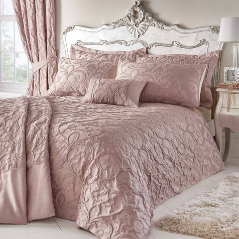 Bentley Luxury Jacquard Blush Pink Duvet Cover Set - Ideal Textiles