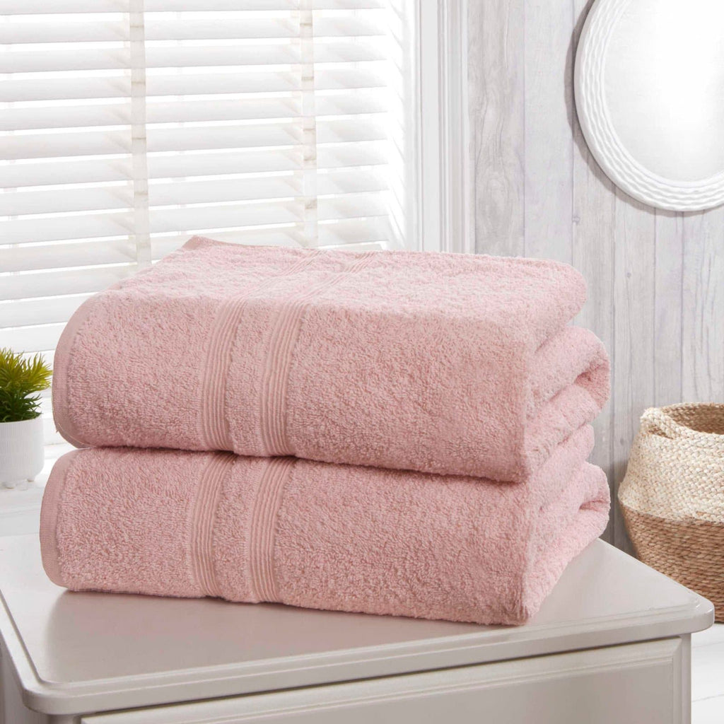 Camden Blush Pink 2 Piece Bath Sheet Towel Set - Ideal Textiles