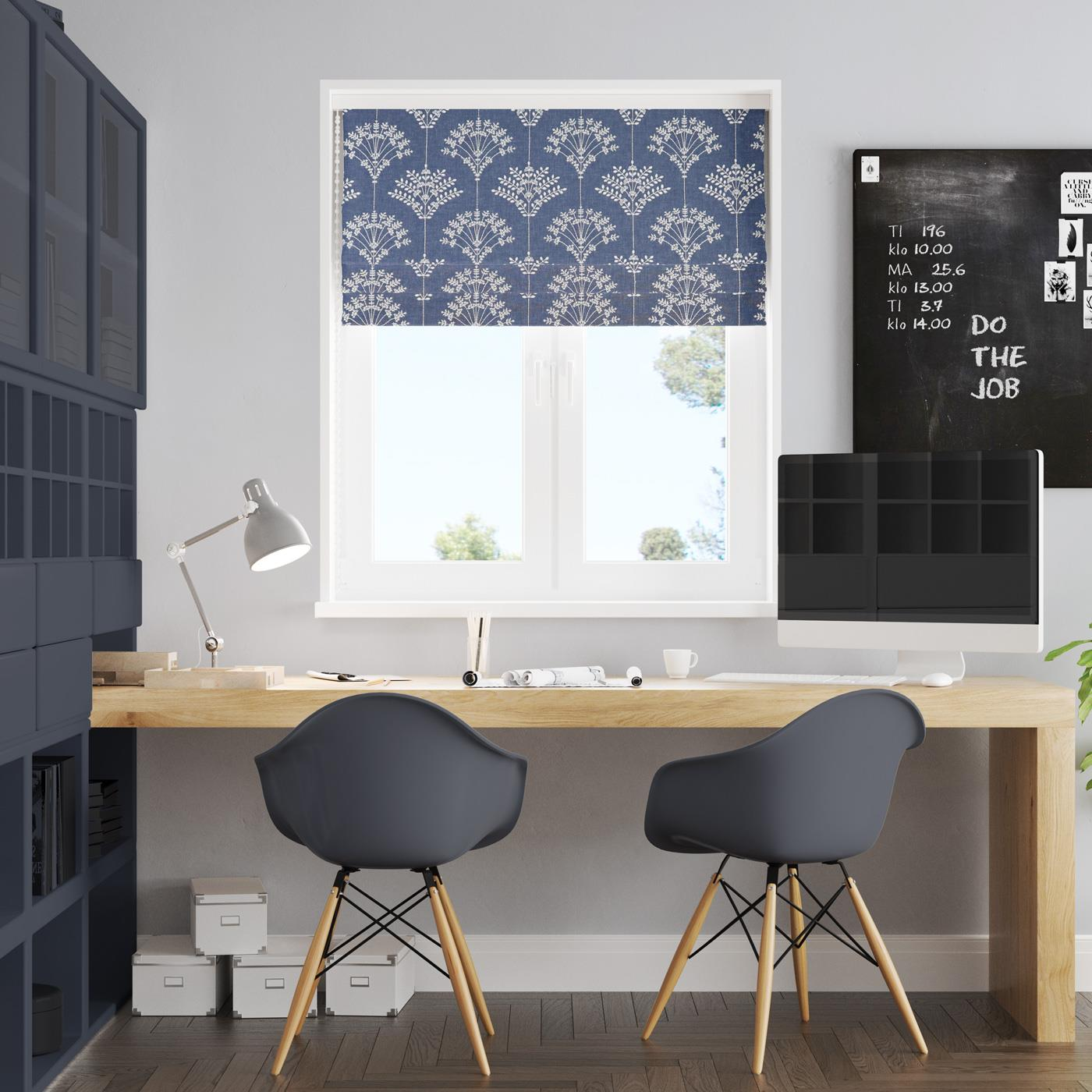 Thalia Sapphire Made To Measure Roman Blind -  - Ideal Textiles