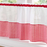 Gingham Voile Cafe Curtain Panels - Ideal Textiles
