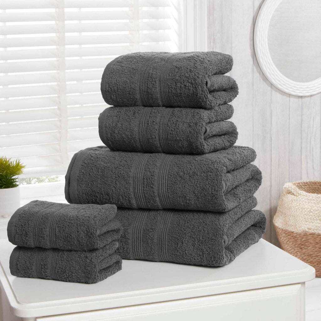 Camden Charcoal 6 Piece Towel Bale Set - Ideal Textiles