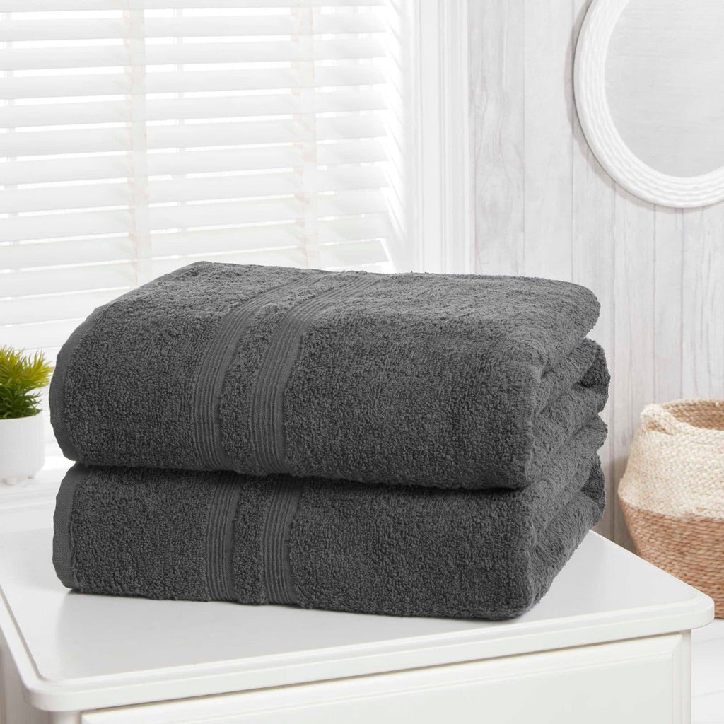 Camden Charcoal 2 Piece Bath Sheet Towel Set - Ideal Textiles
