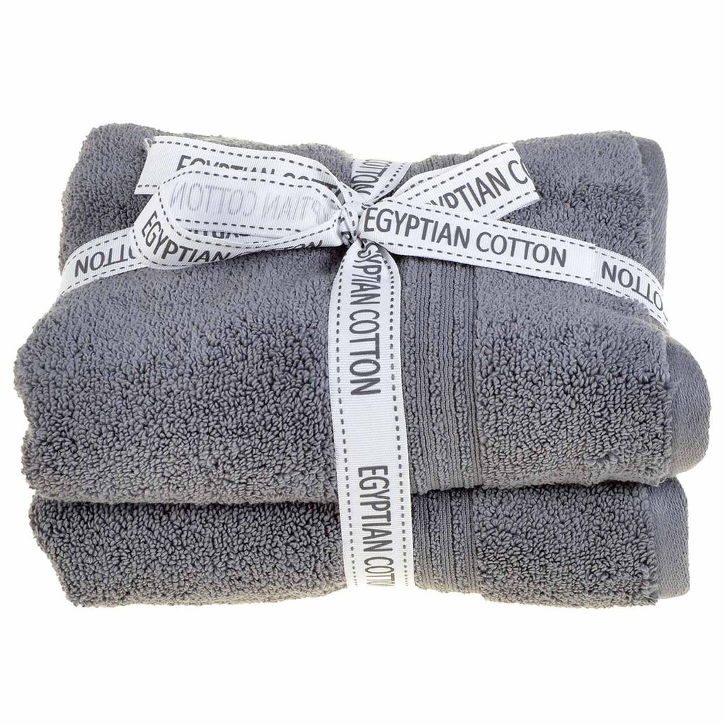 Spa 100% Egyptian Cotton 2 Piece Towel Bales Charcoal - Ideal Textiles