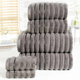 Ribbed 6 Piece Towel Bale Charcoal - Ideal Textiles