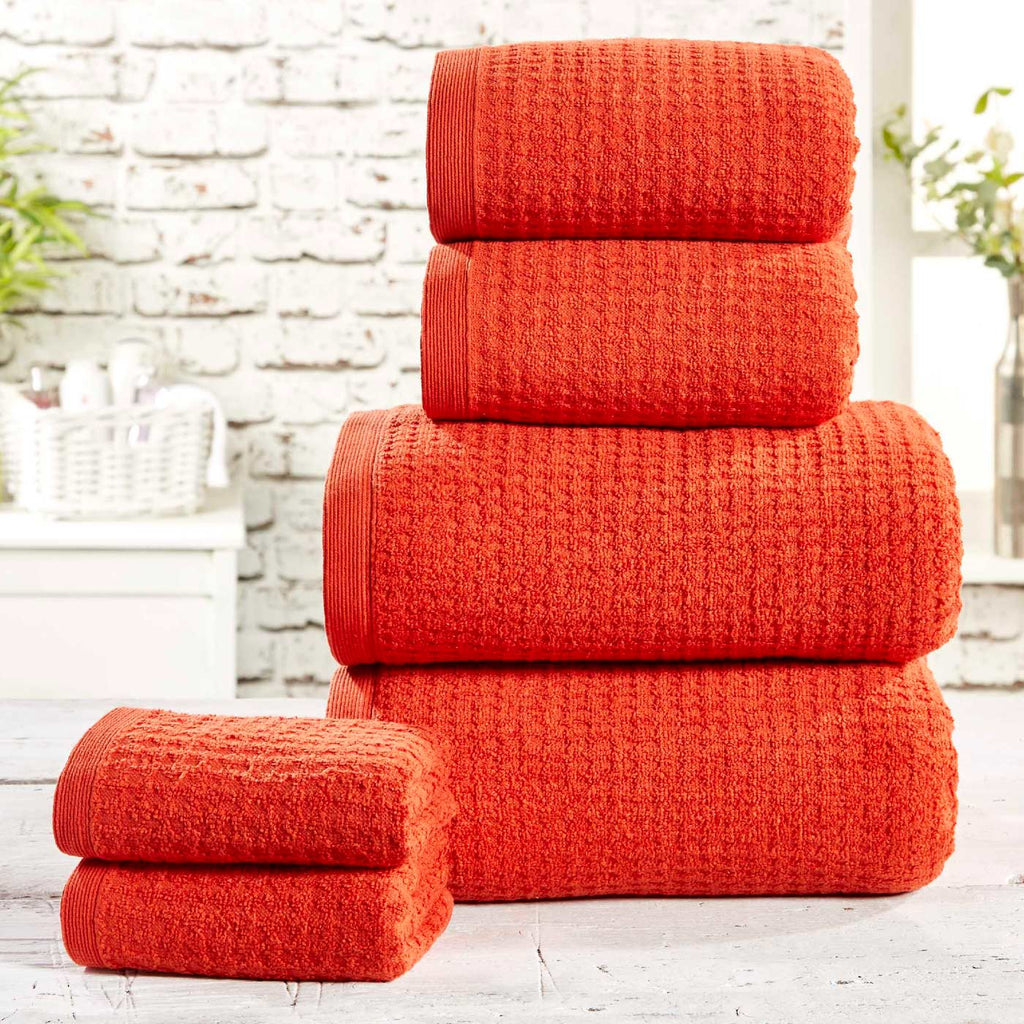 Waffle 6 Piece Towel Bale Chilli - Ideal Textiles