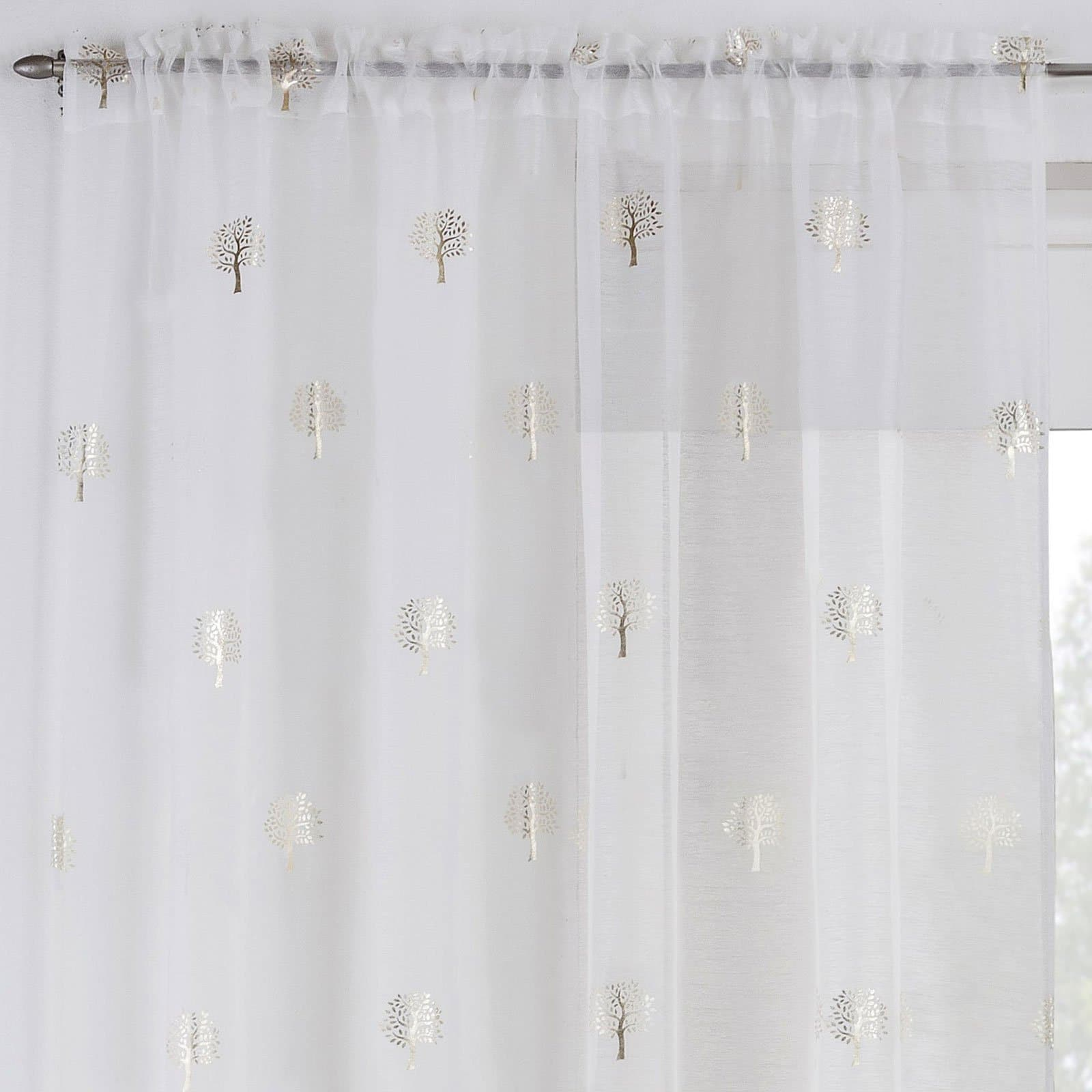 Birch Voile Curtain Panels Cream - 55'' x 48'' - Ideal Textiles