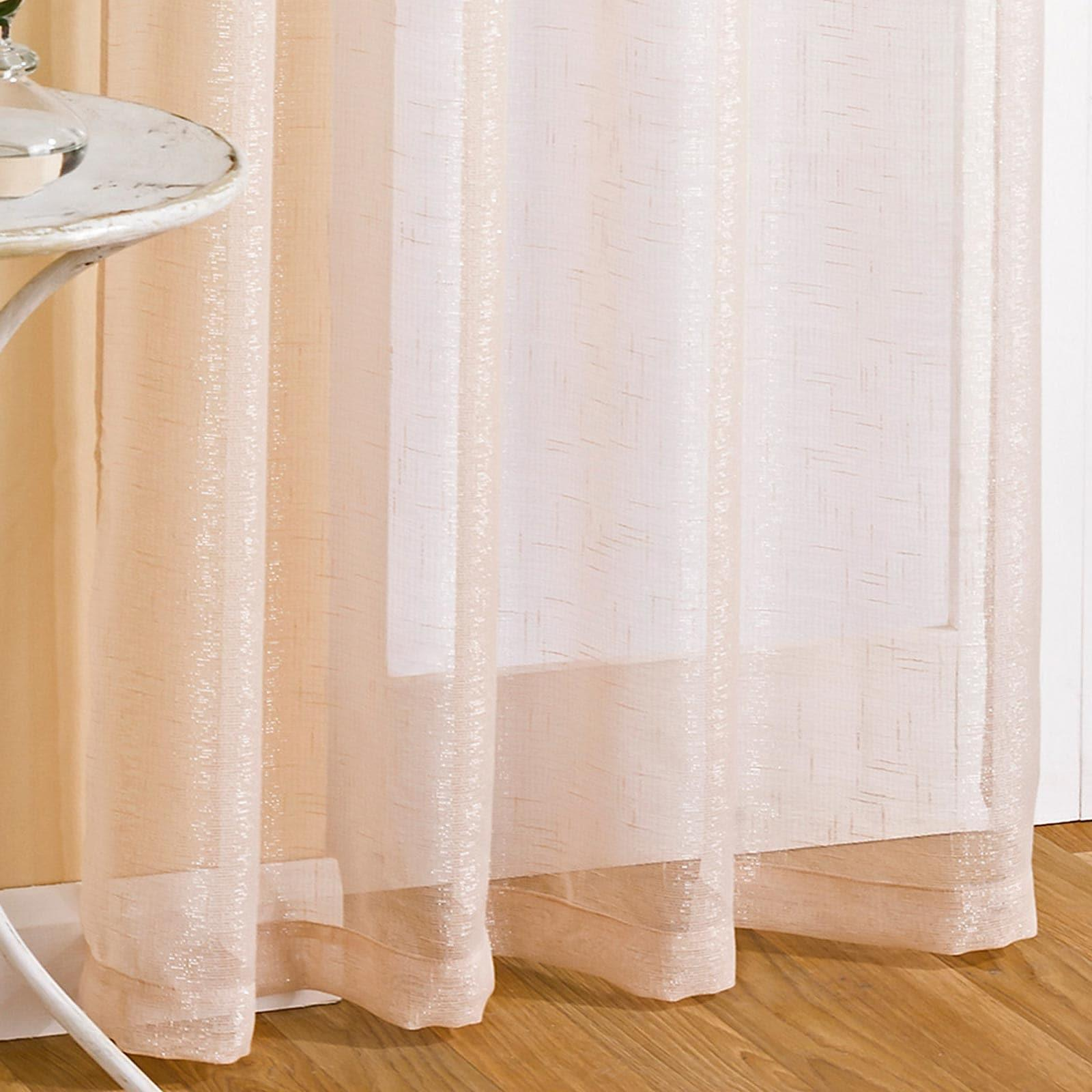 Marrakesh Sparkle Eyelet Voile Curtain Panels Cream -  - Ideal Textiles