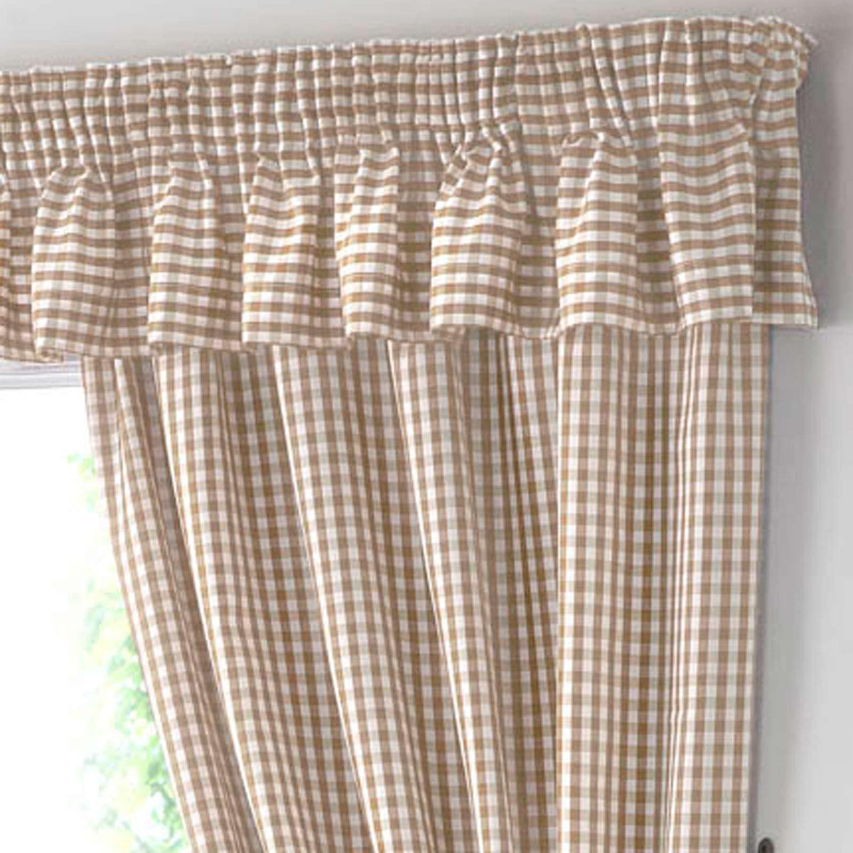 gingham check beige kitchen curtains - ideal textiles